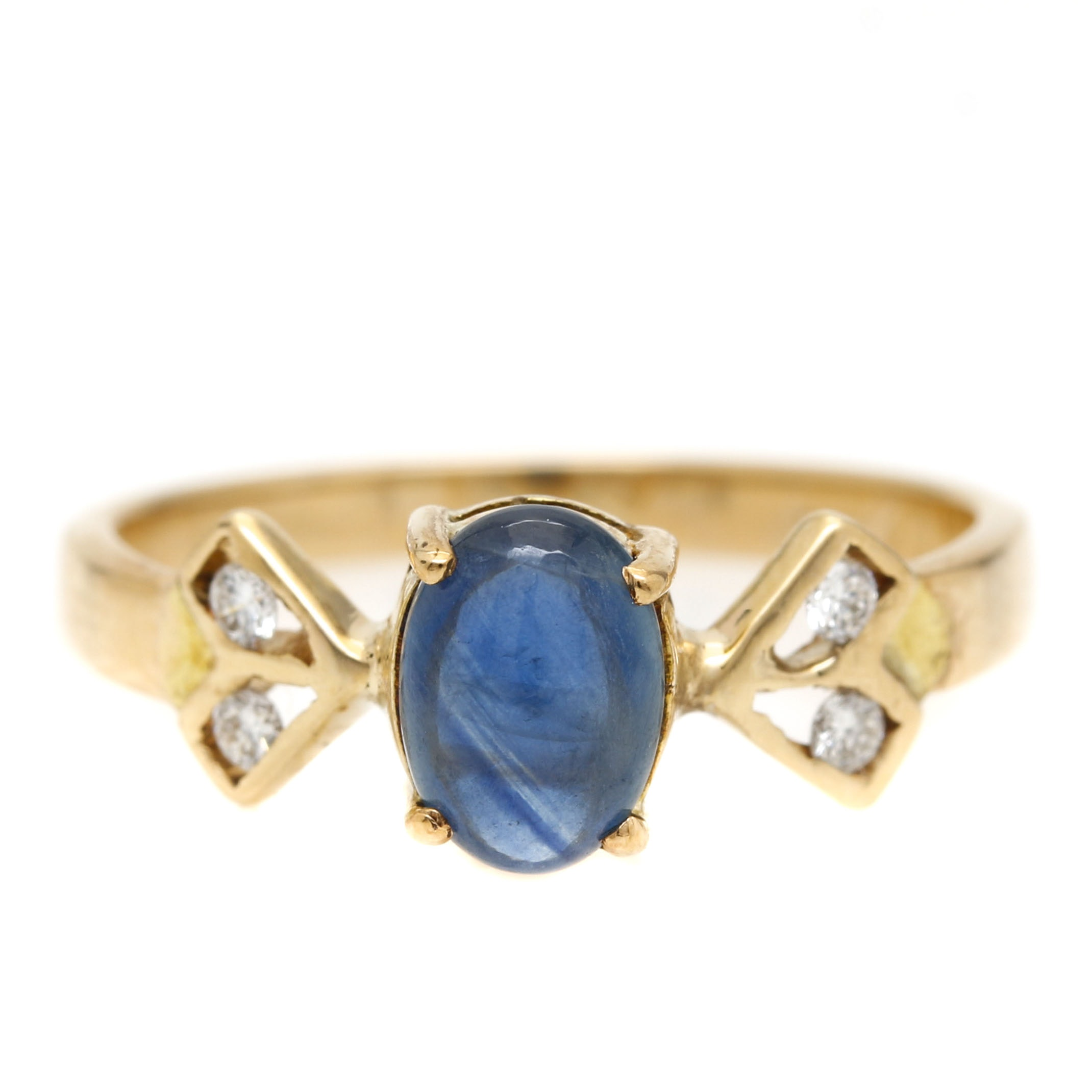 14K Yellow Gold 0.95 CT Sapphire and Diamond Bow Ring