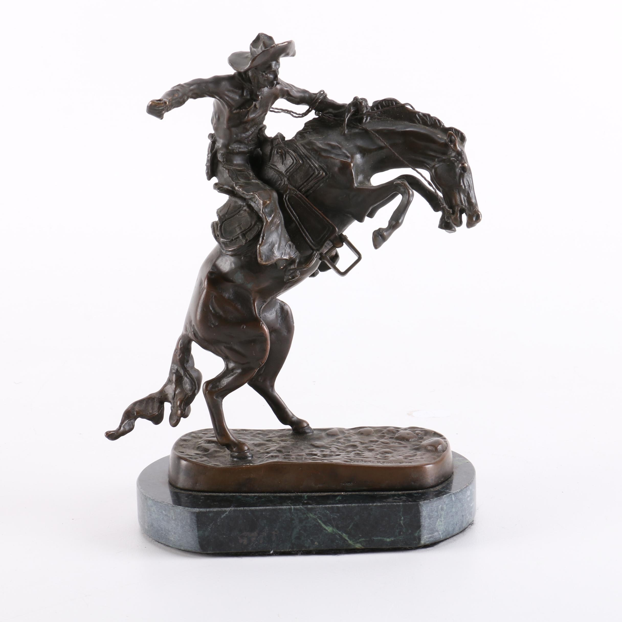 """Frederic Remington Reproduction Statue of """"Bronco Buster"""""""