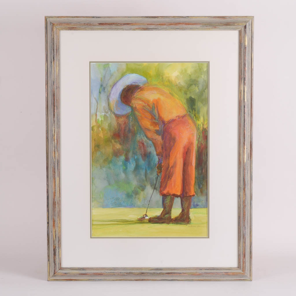 Barbara Chenault Original Watercolor Painting of a Golfer