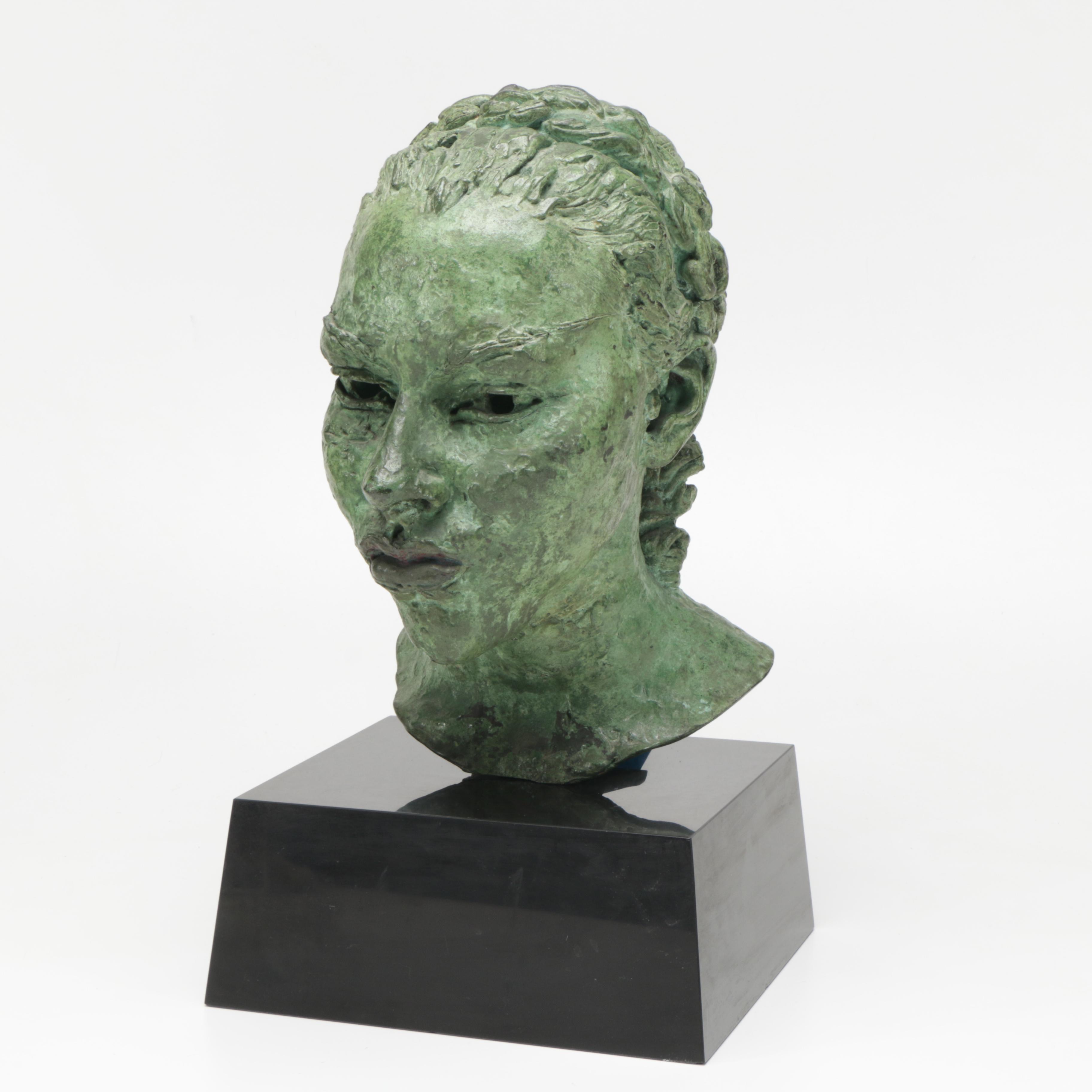 """Sir Jacob Epstein Cast Bronze Sculpture """"Tiyi (Head of Girl)"""""""