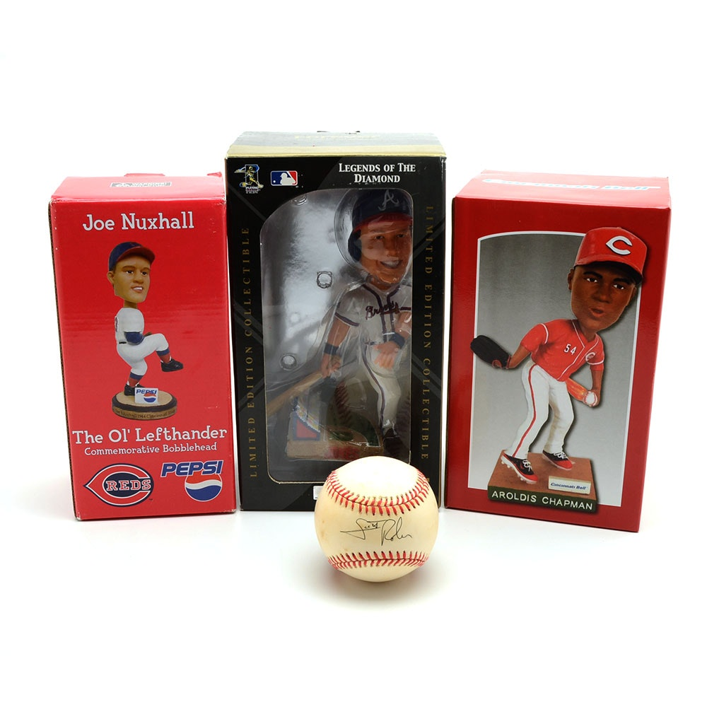 Scott Rolen Signed Ball with Chapman, Nuxhall  Bobbleheads