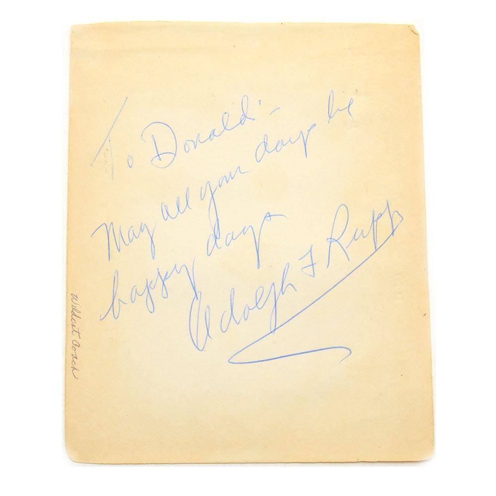 University Of Kentucky Basketball Great Adolph Rupp Autograph Cut