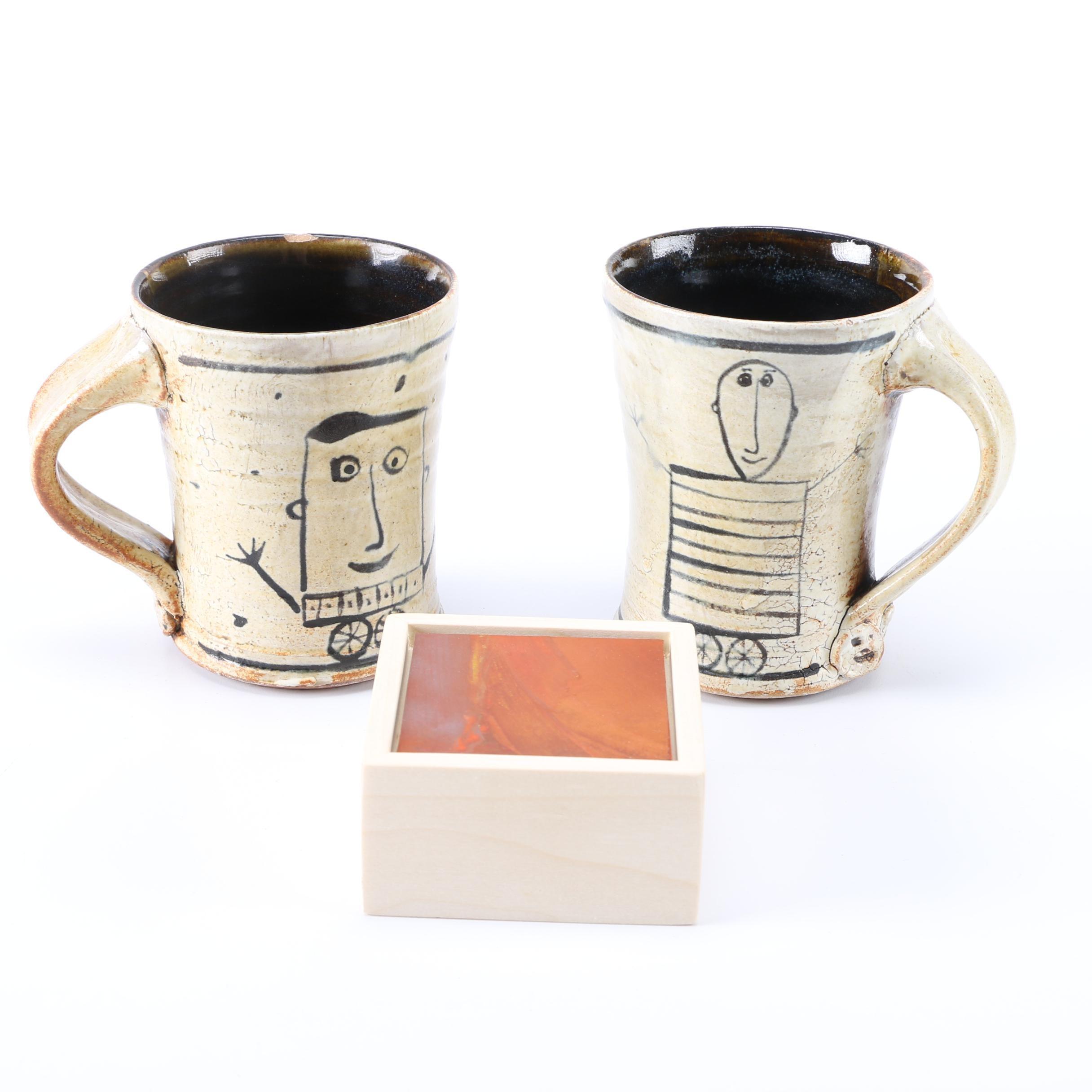 Handmade Mugs and Small Signed Painting
