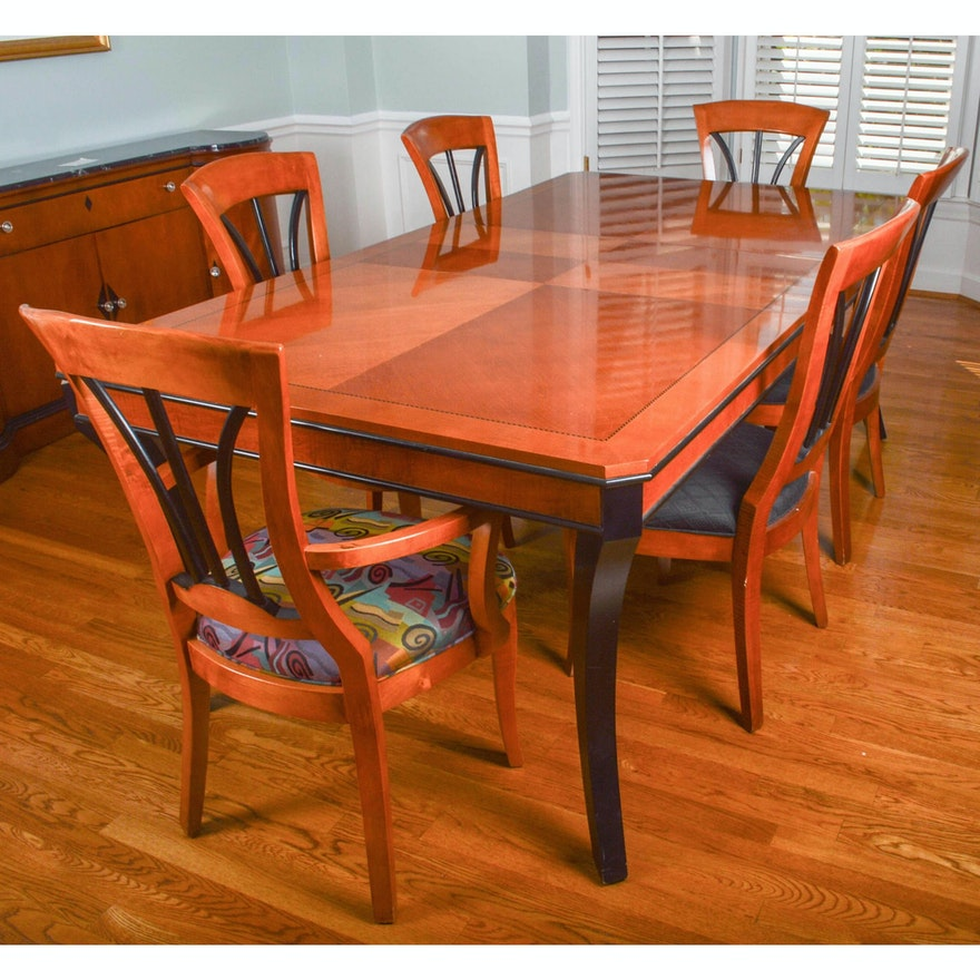 Biederman Style Walnut Dining Room Table and Six Chairs : EBTH