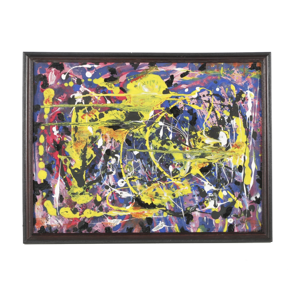 Mixed Media Painting on Canvas Abstract Composition