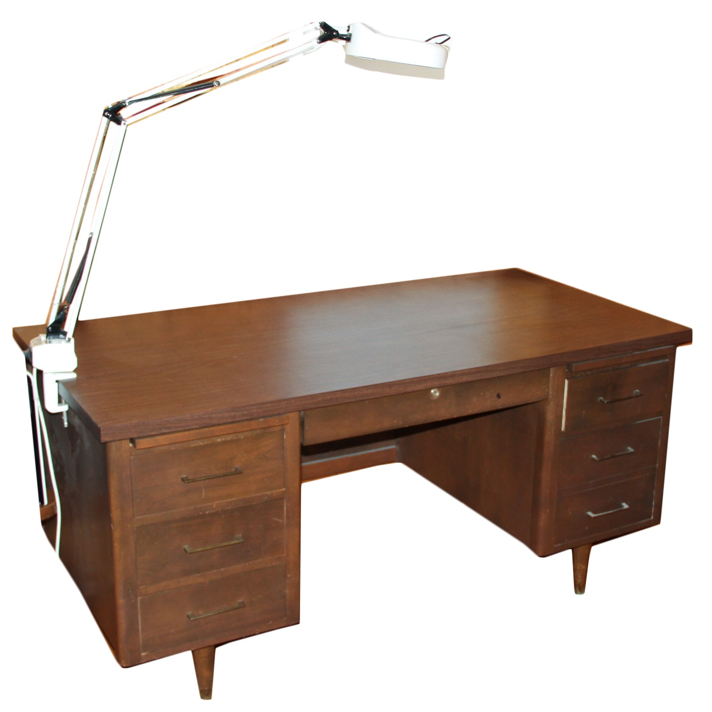 Vintage Work Desk with Attached Light