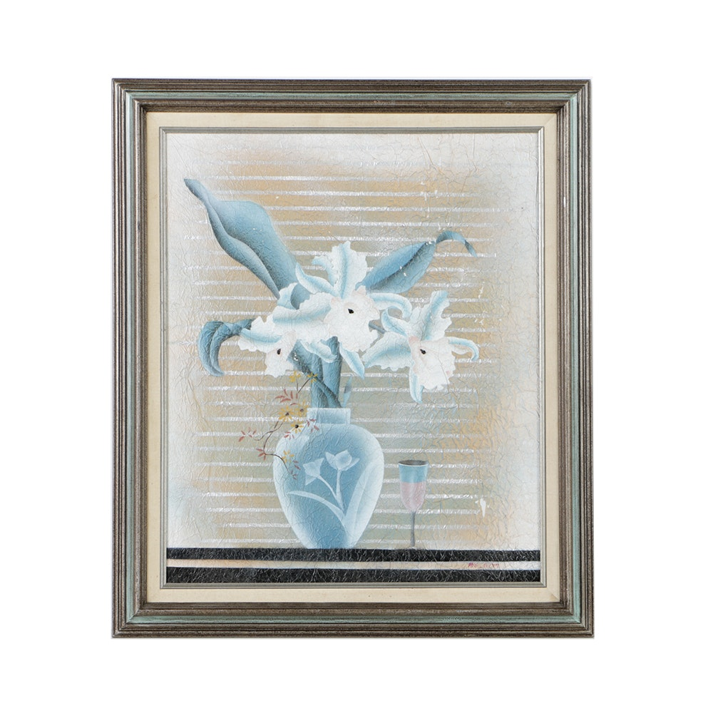 Airbrush Painting on Paper Floral Still Life