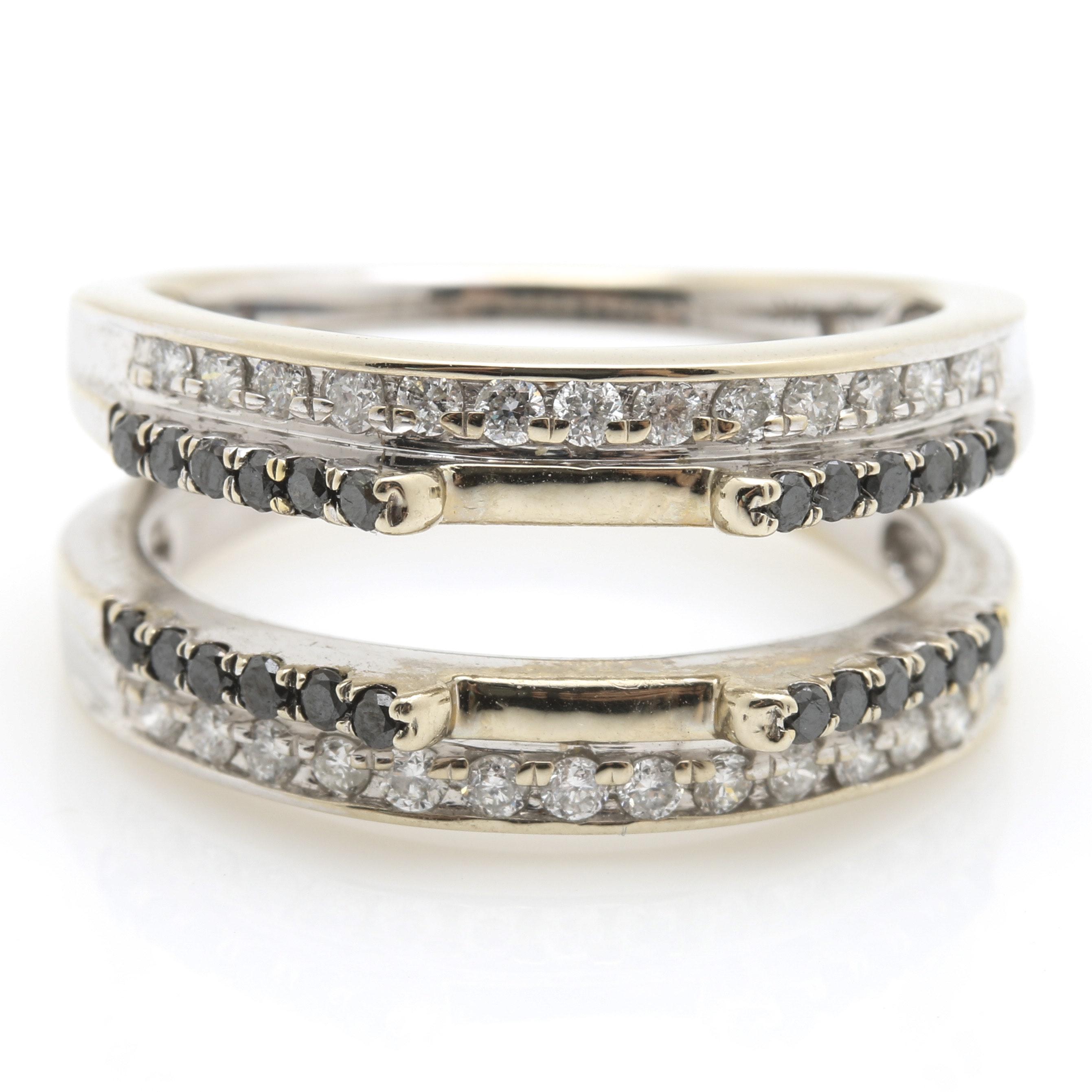14K White Gold Black and White Diamond Ring Enhancer