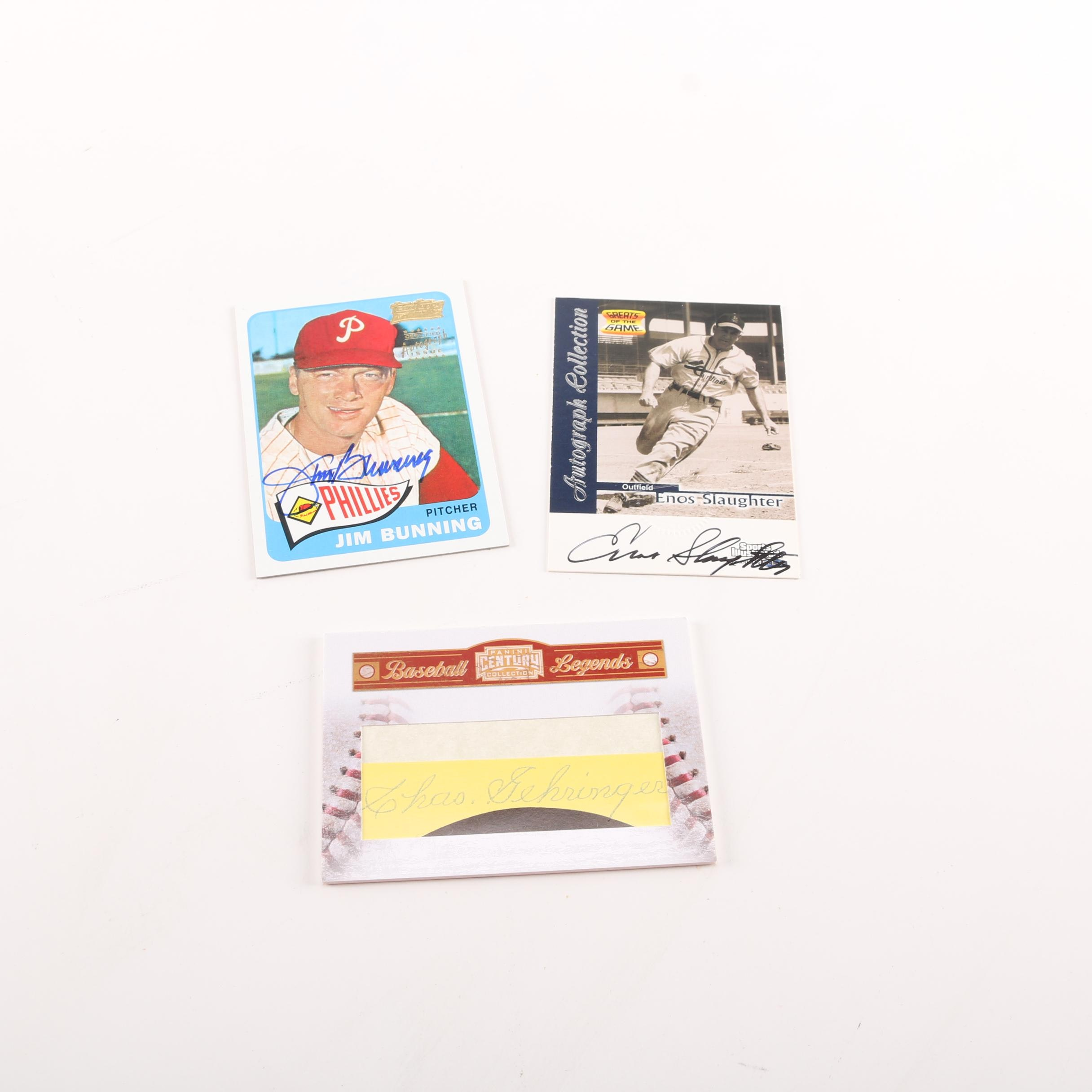 Signed Baseball Cards Including Jim Bunning and Enos Slaughter