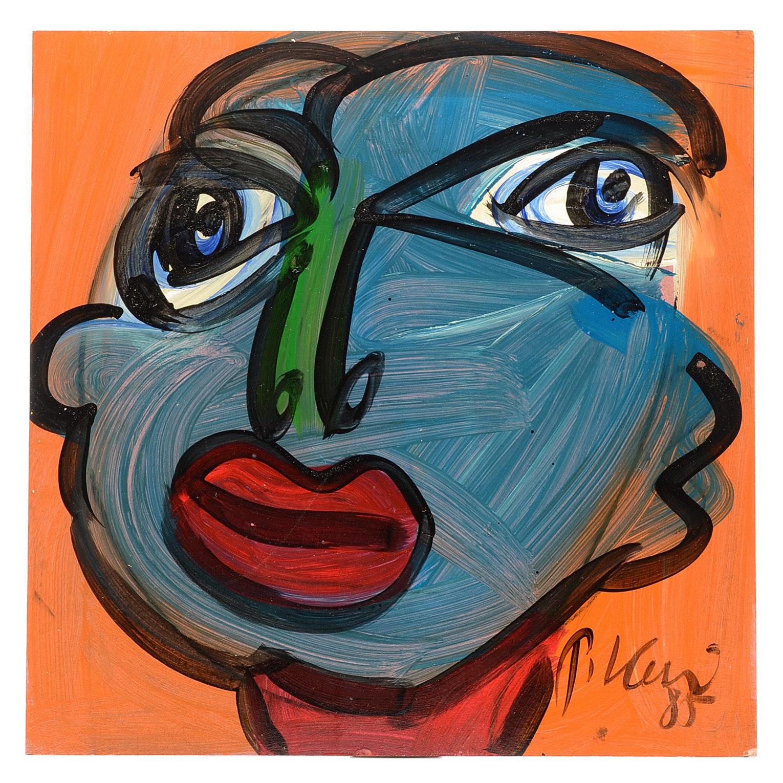 "Peter Keil Original 1985 Expressionist Oil on Board ""John Lennon"""