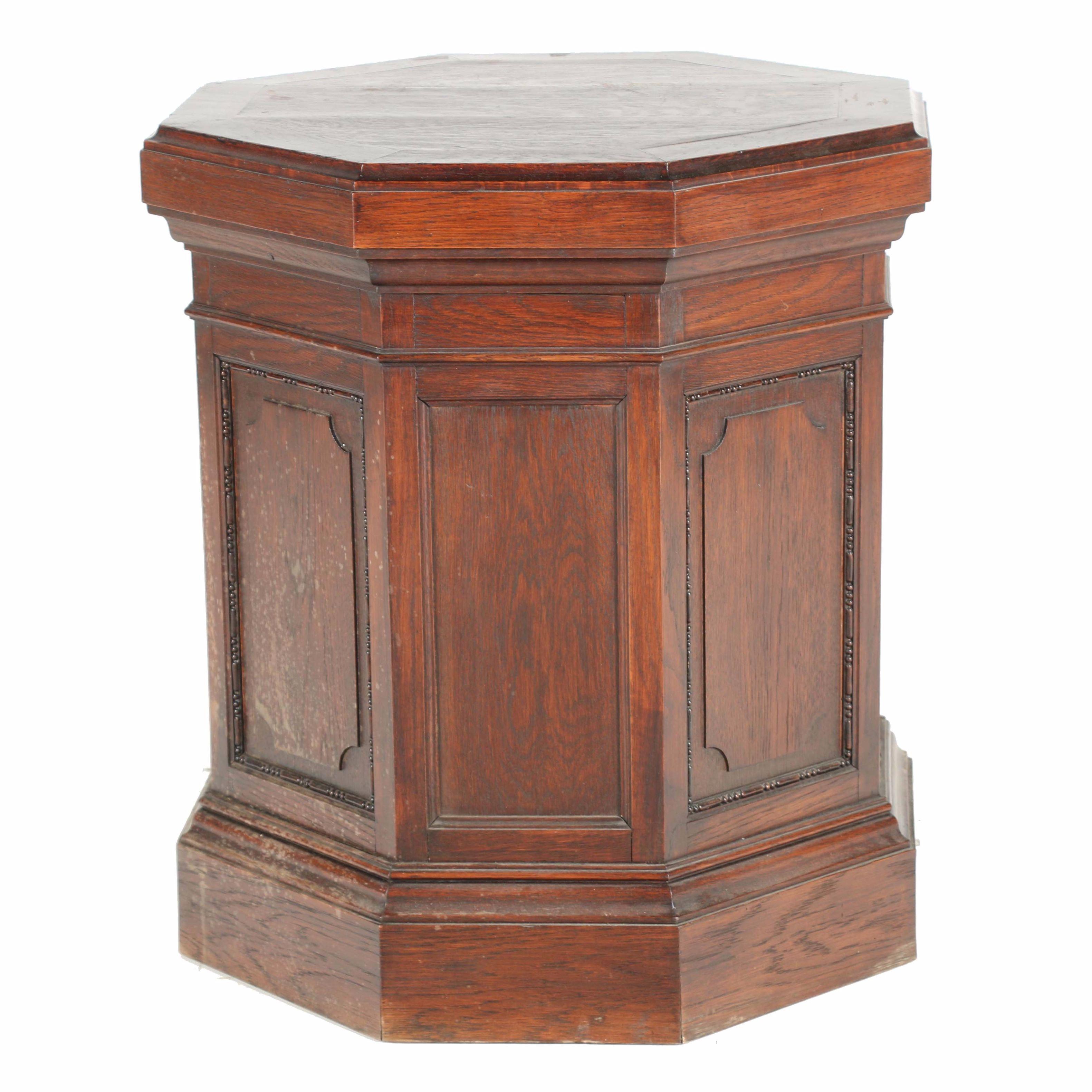 Octagonal Oak Accent Table