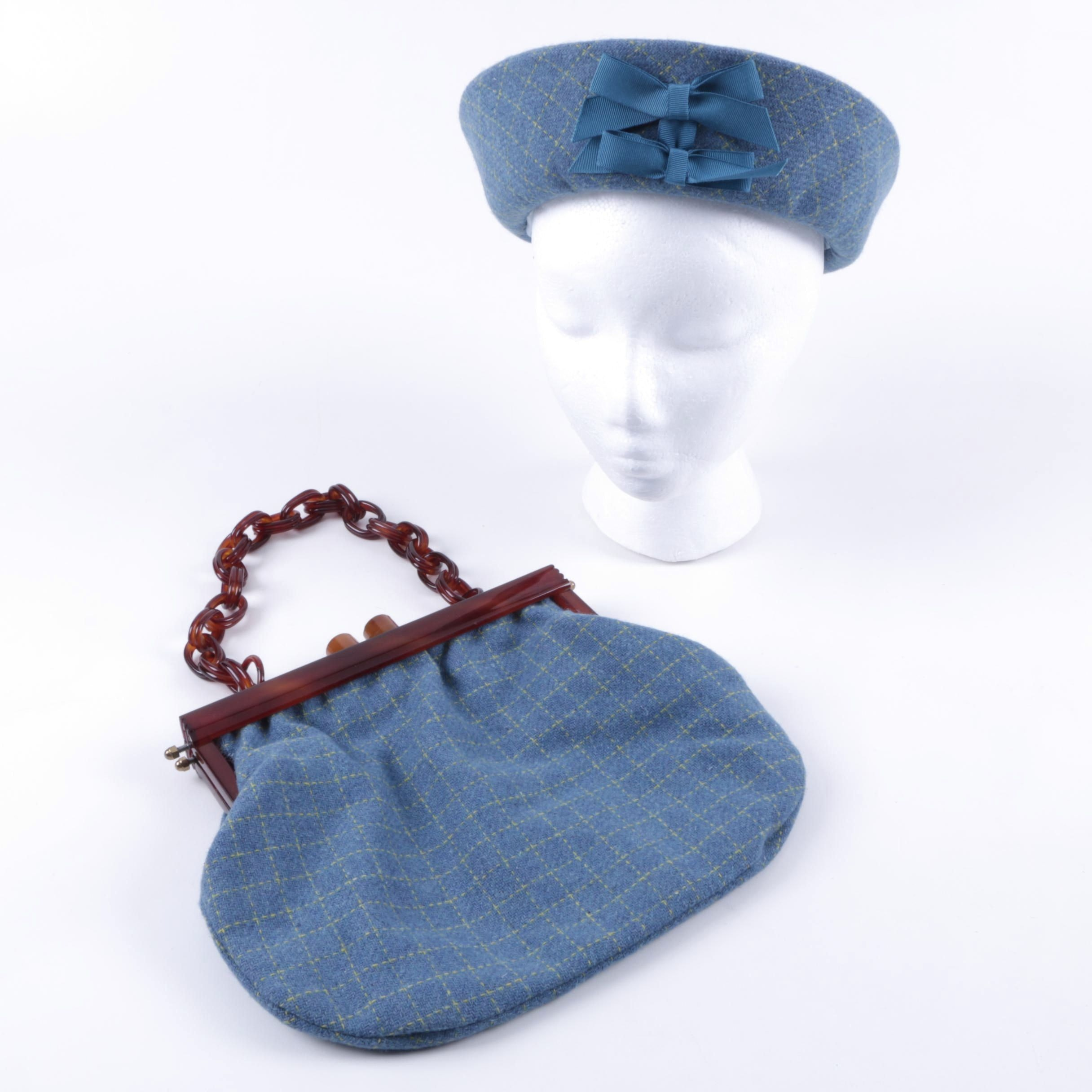 Blue Knit Purse with Matching Hat