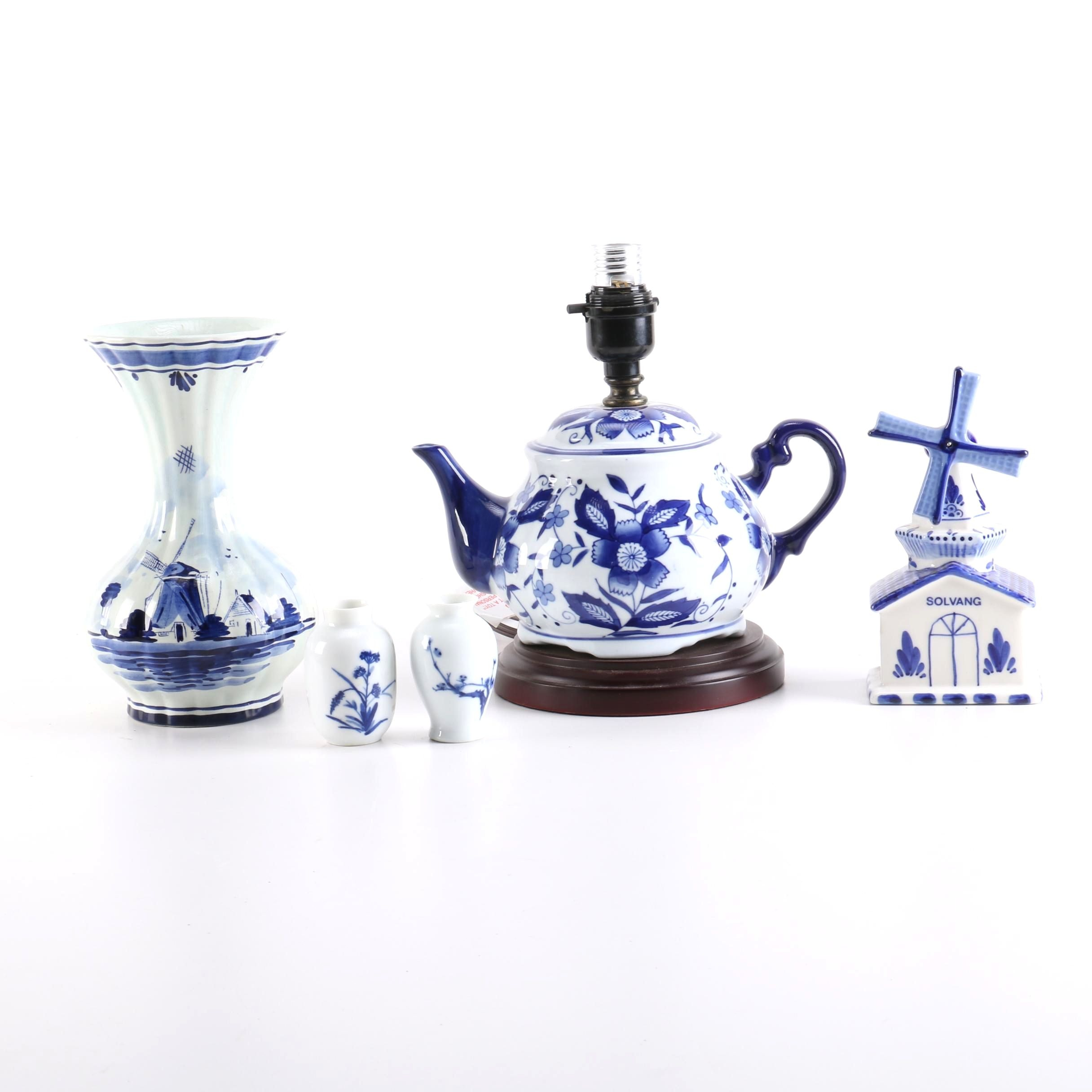 Blue and White Porcelain Pottery Including Delft Pottery
