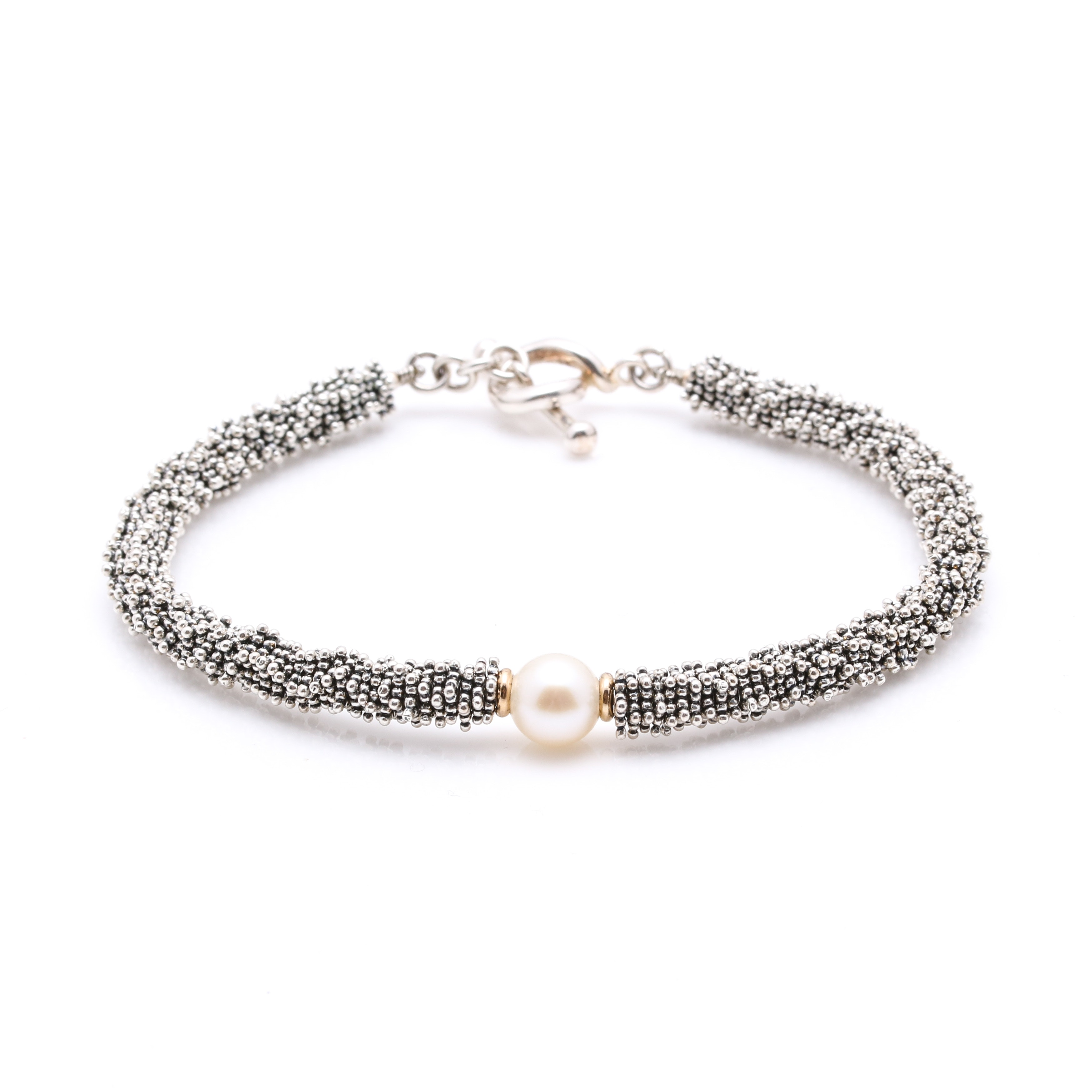 Micheal Dawkins Sterling Silver 14K Yellow Gold Cultured Pearl Bracelet