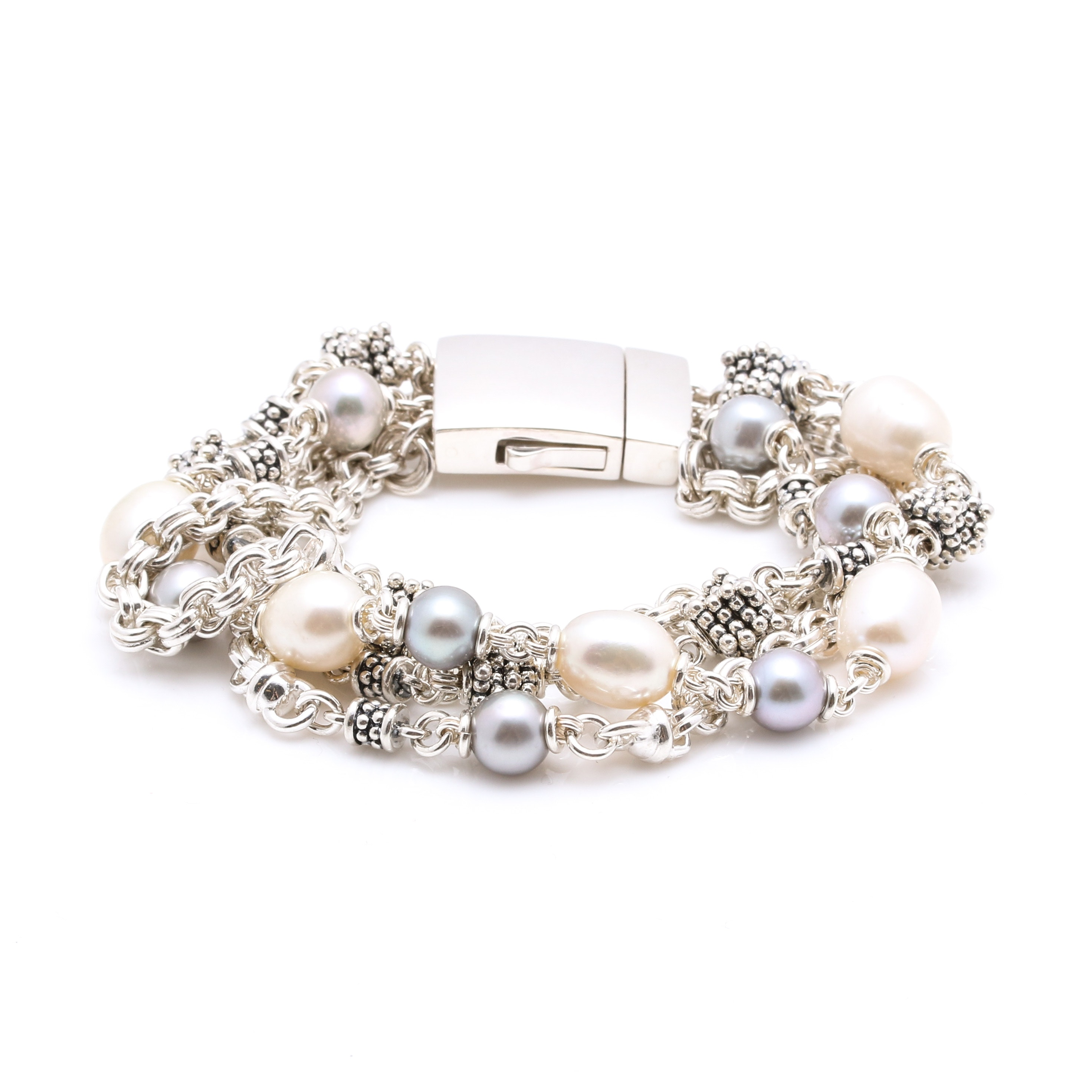Michael Dawkins Sterling Silver Cultured Pearl and 14K White Gold Bracelet