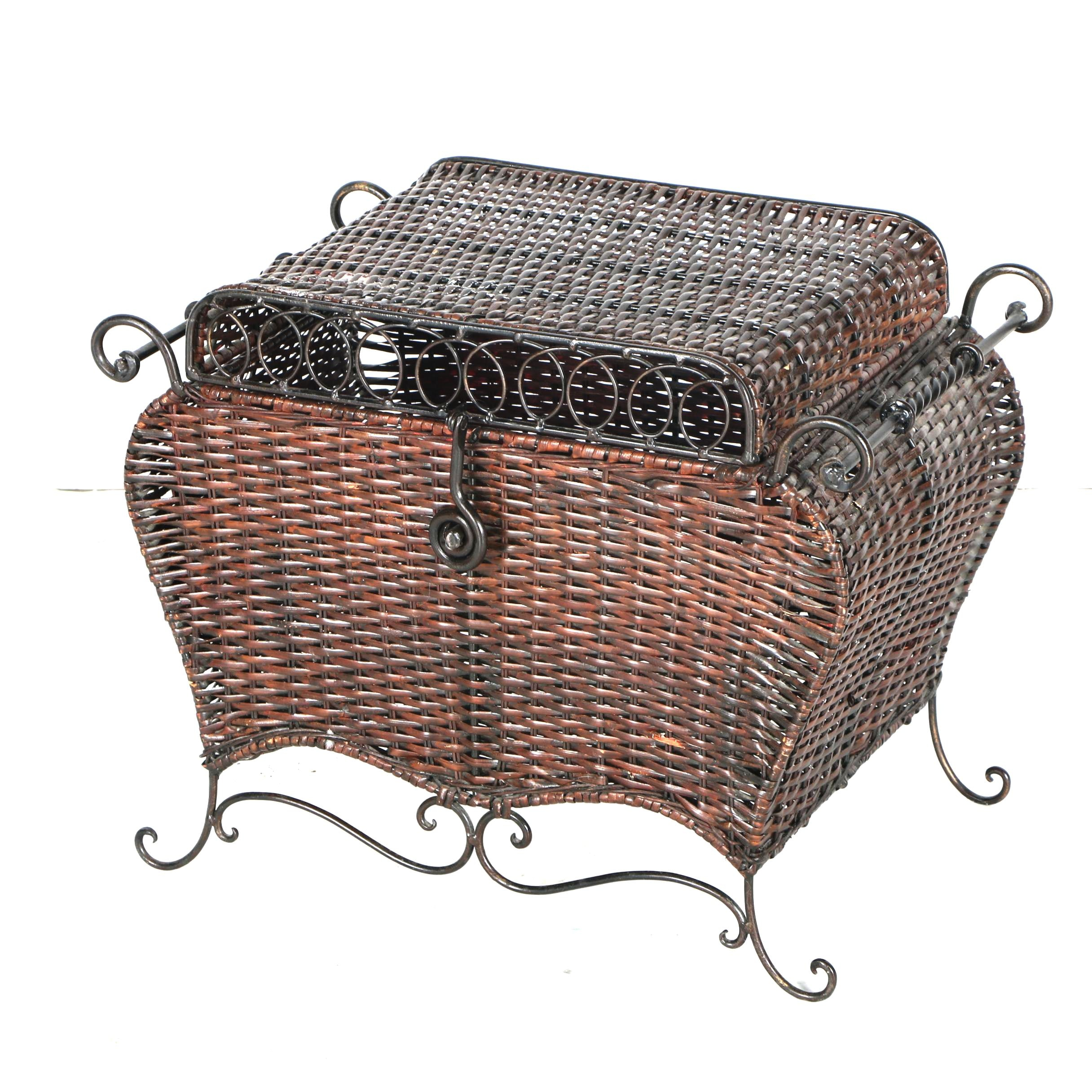 Contemporary Wicker and Metal Storage Trunk