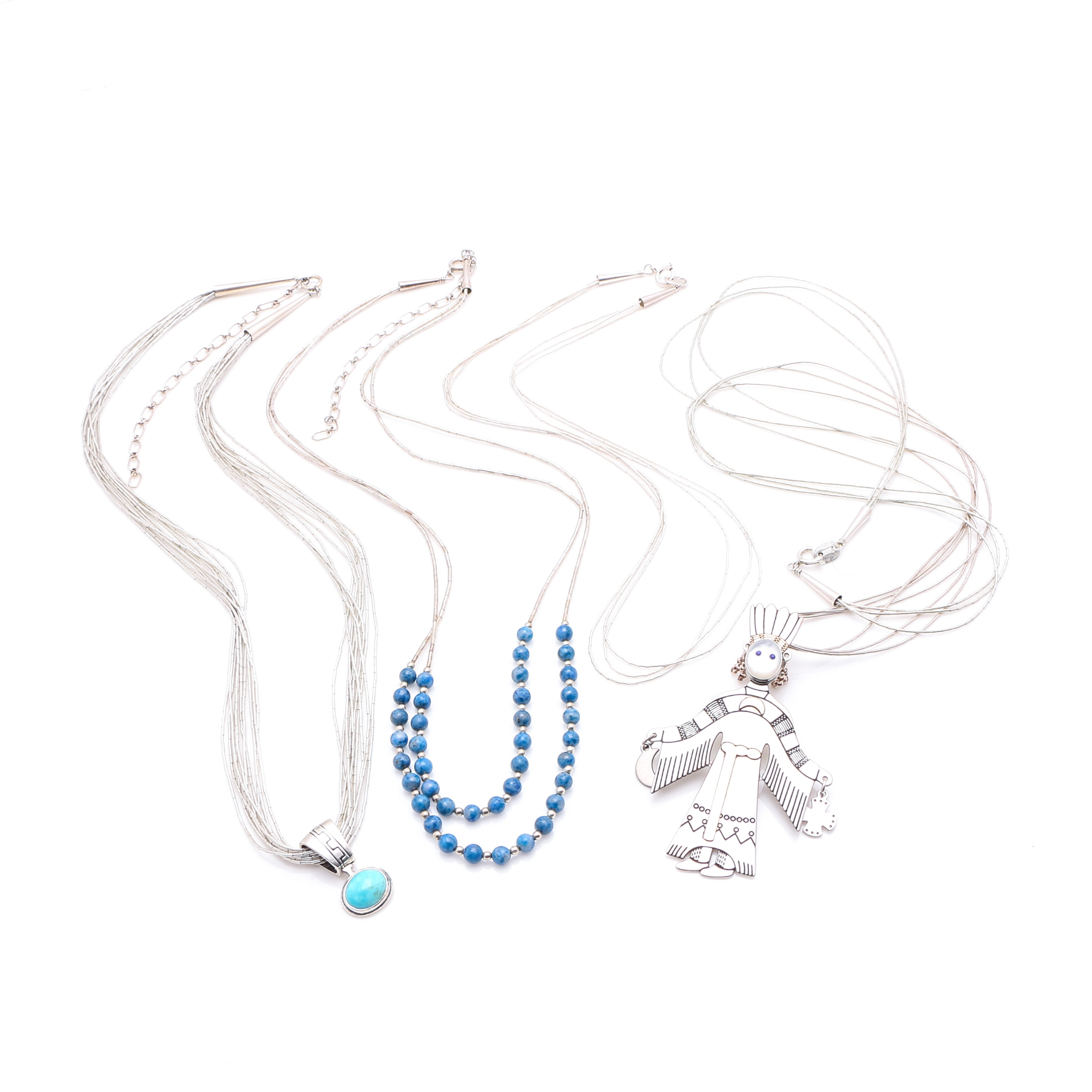 Assortment of Carolyn Pollack Relios Collection Liquid Silver Necklaces