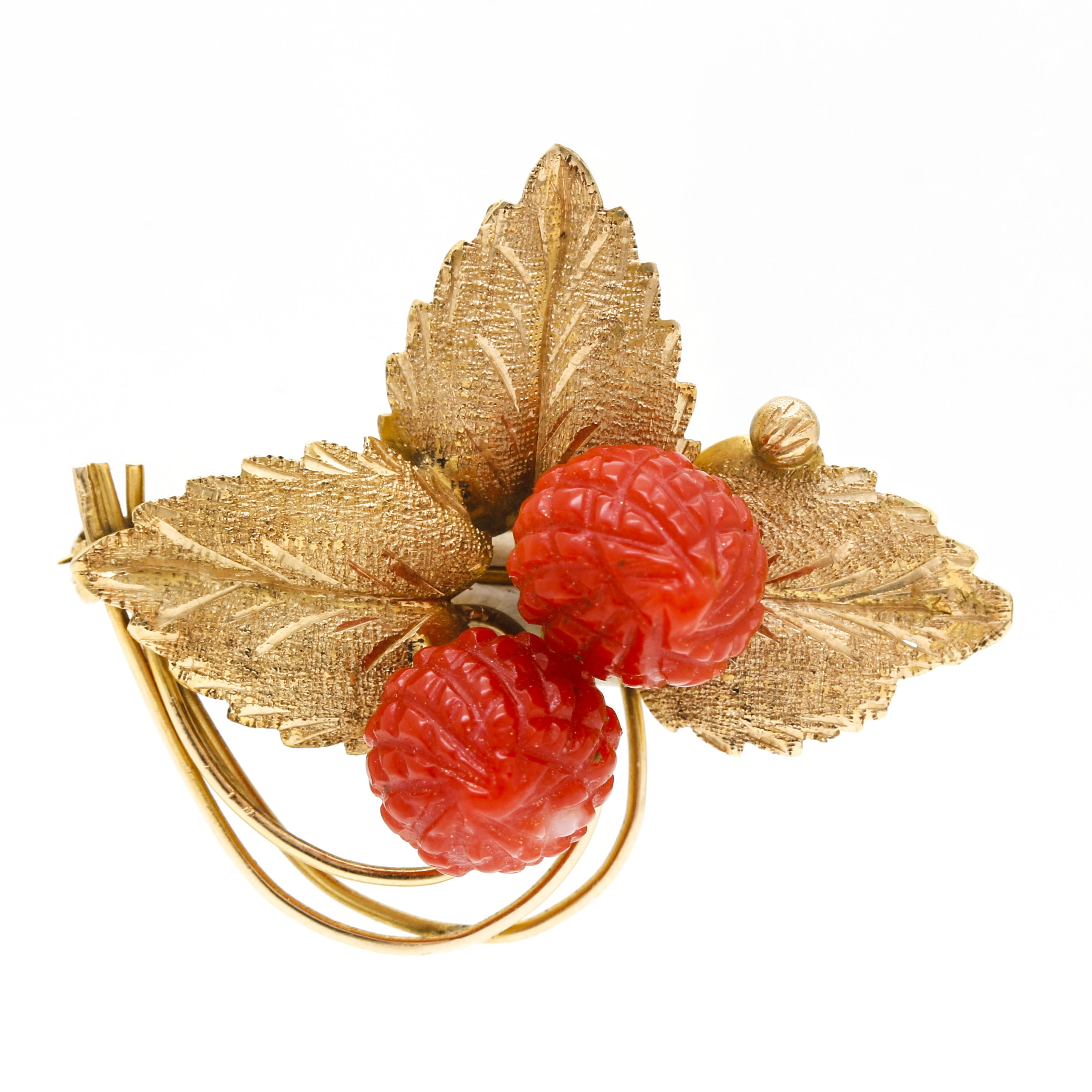 14K Yellow Gold Red Coral Carved Raspberry and Gold Leaves Brooch