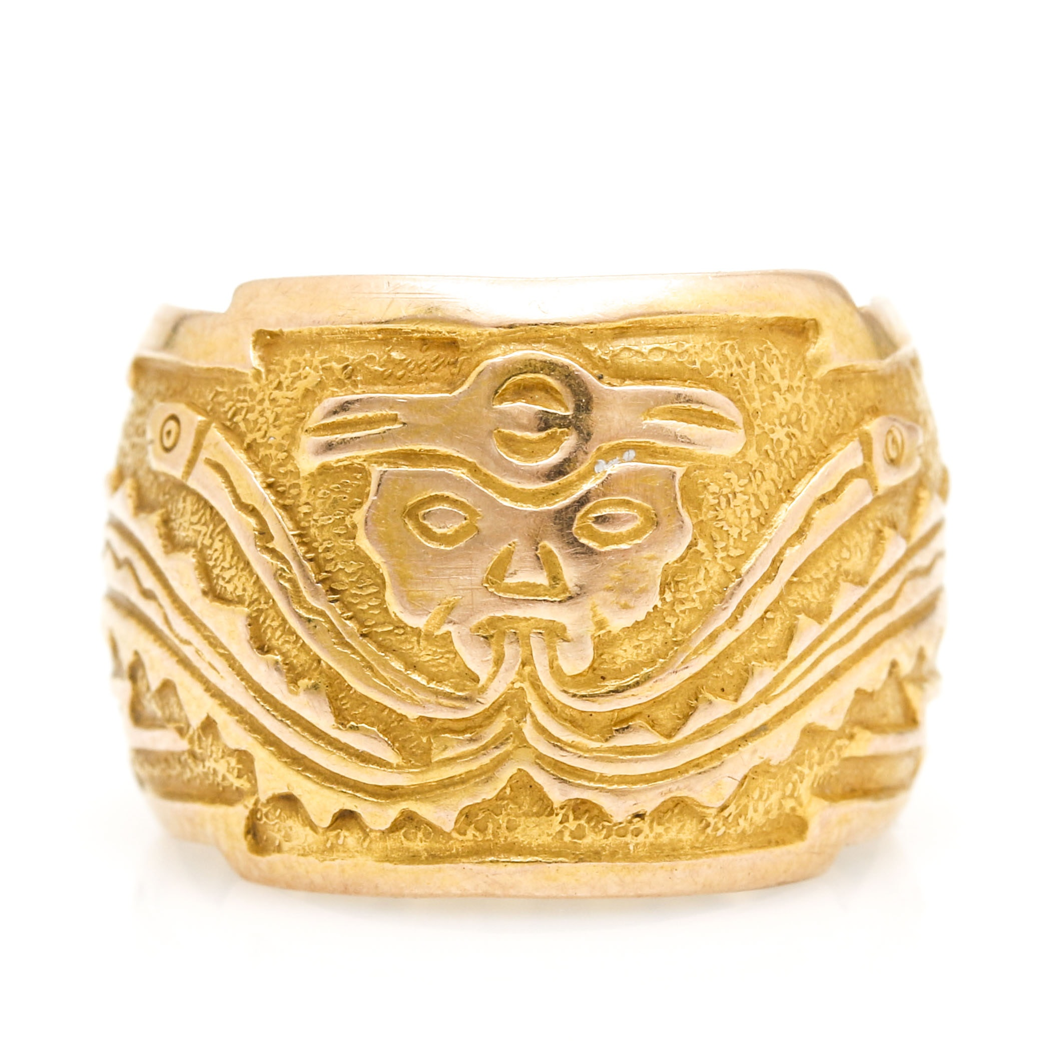 18K Yellow Gold Geometric Etched Adjustable Ring