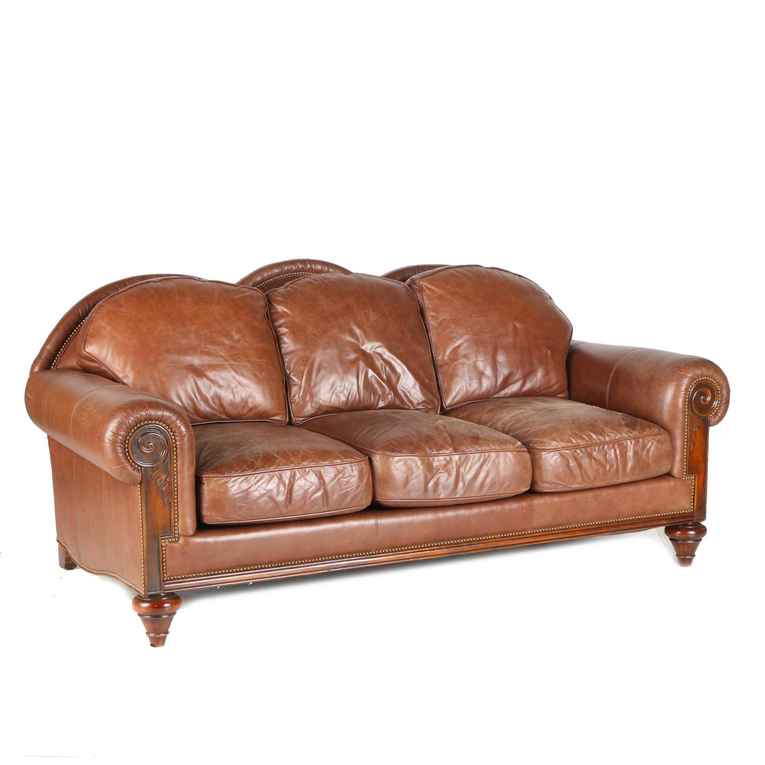 Brown Leather Sofa by Whittemore-Sherrill Limited