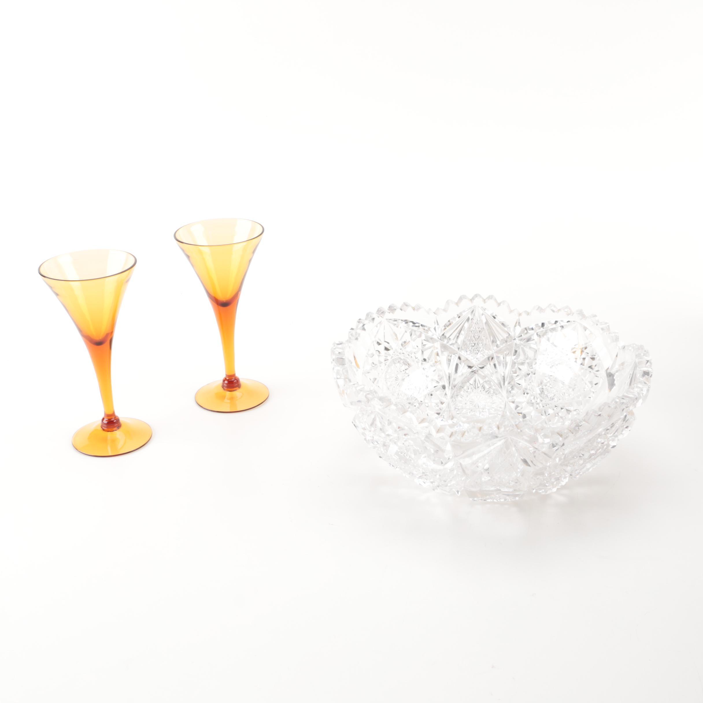 Crystal Bowl and Two Stemmed Carnival Shot Glasses