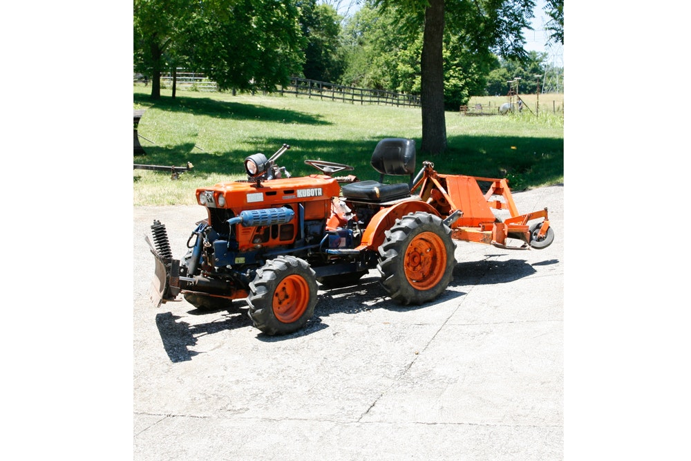 Kubota Diesel Tractor with Snow Plow and Mower