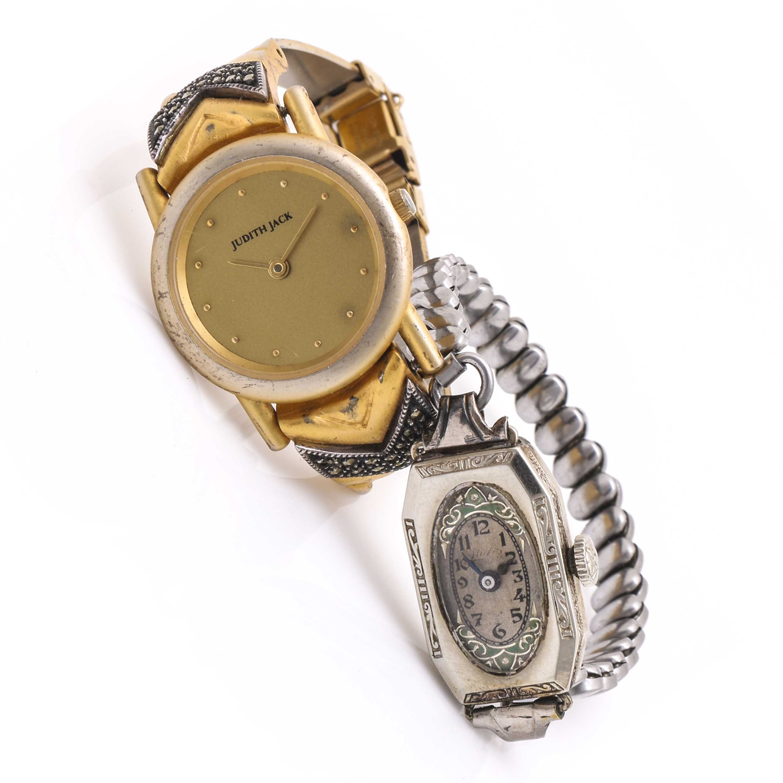 14K White Gold Filled and Gold Tone Wristwatches Including Judith Jack and Hafis