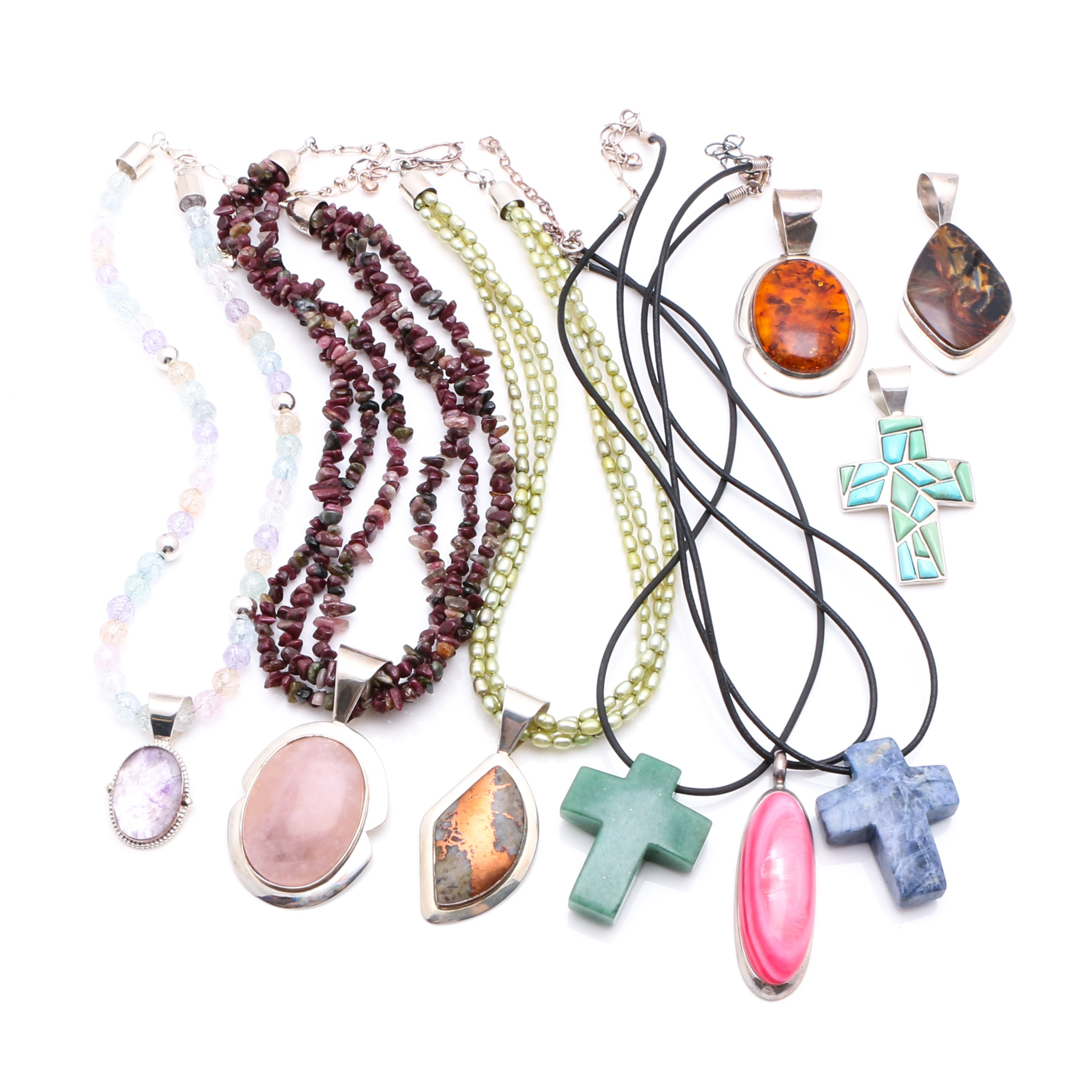 Assortment of Sterling and Stone Necklaces and Pendants featuring Jay King