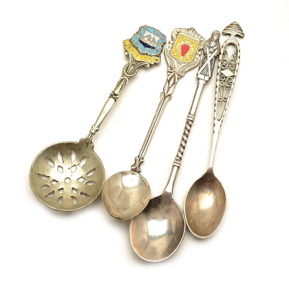 Vintage 800 and 900 Silver Souvenir Spoons