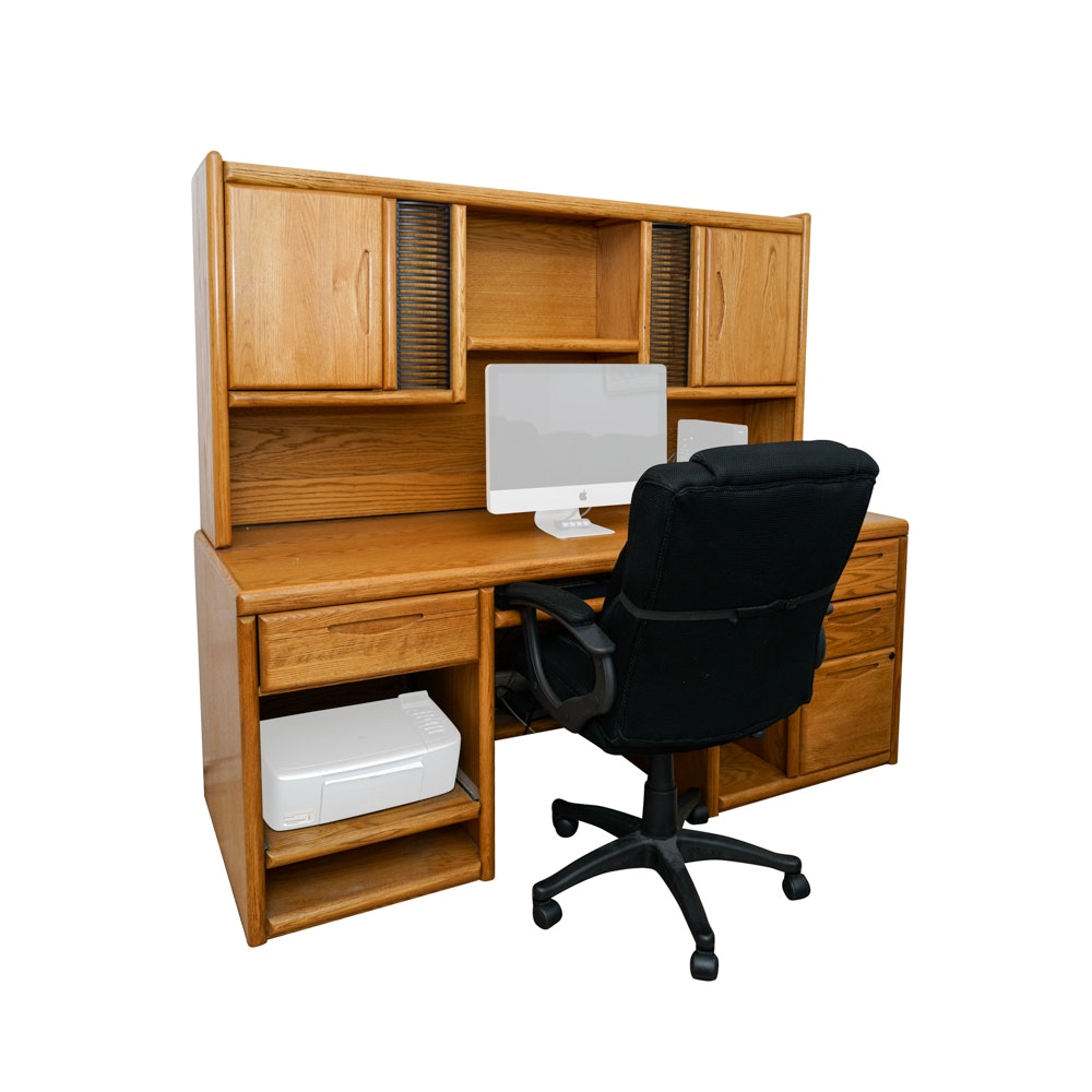 Oak Computer Desk and Chair