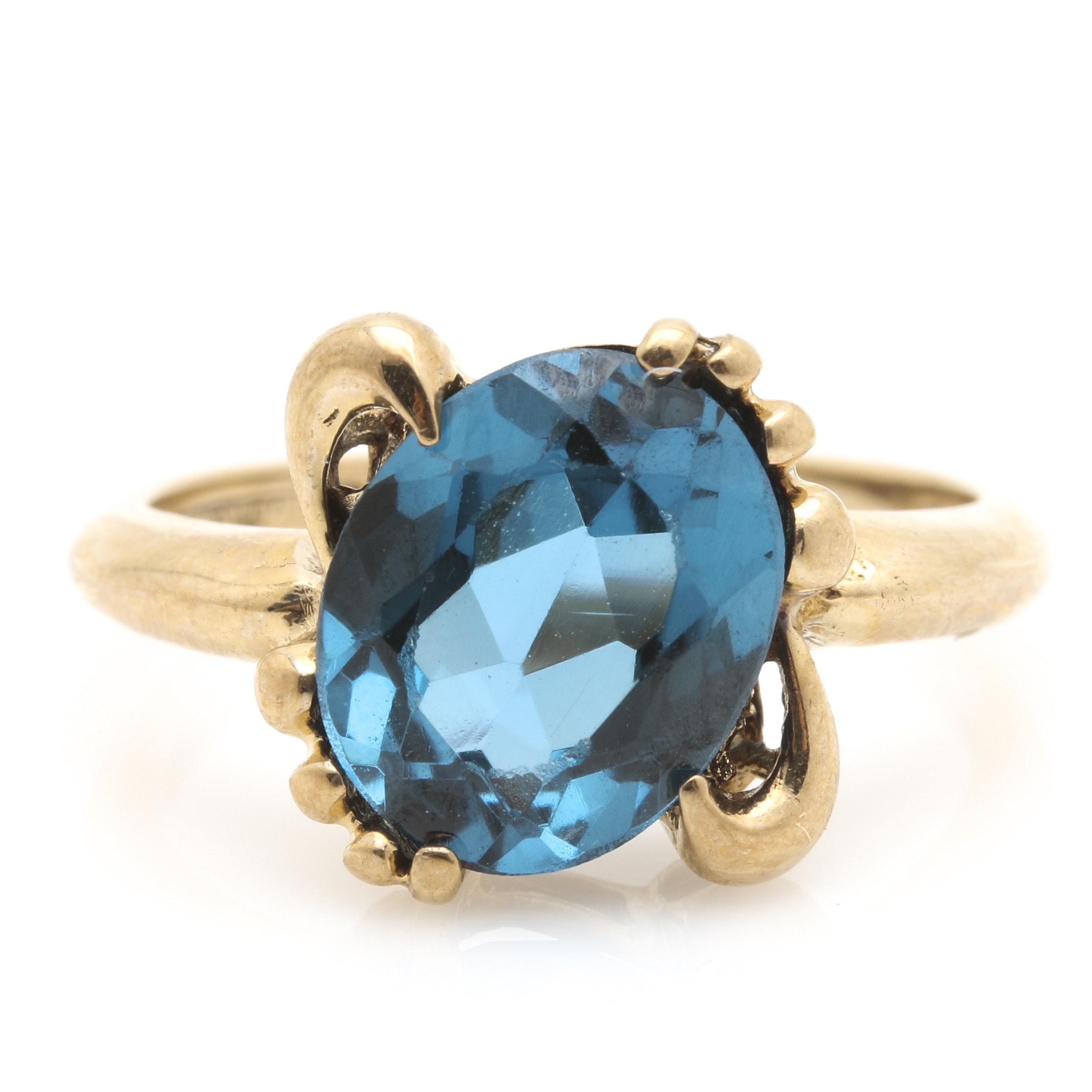 10K Yellow Gold London Blue Topaz Ring