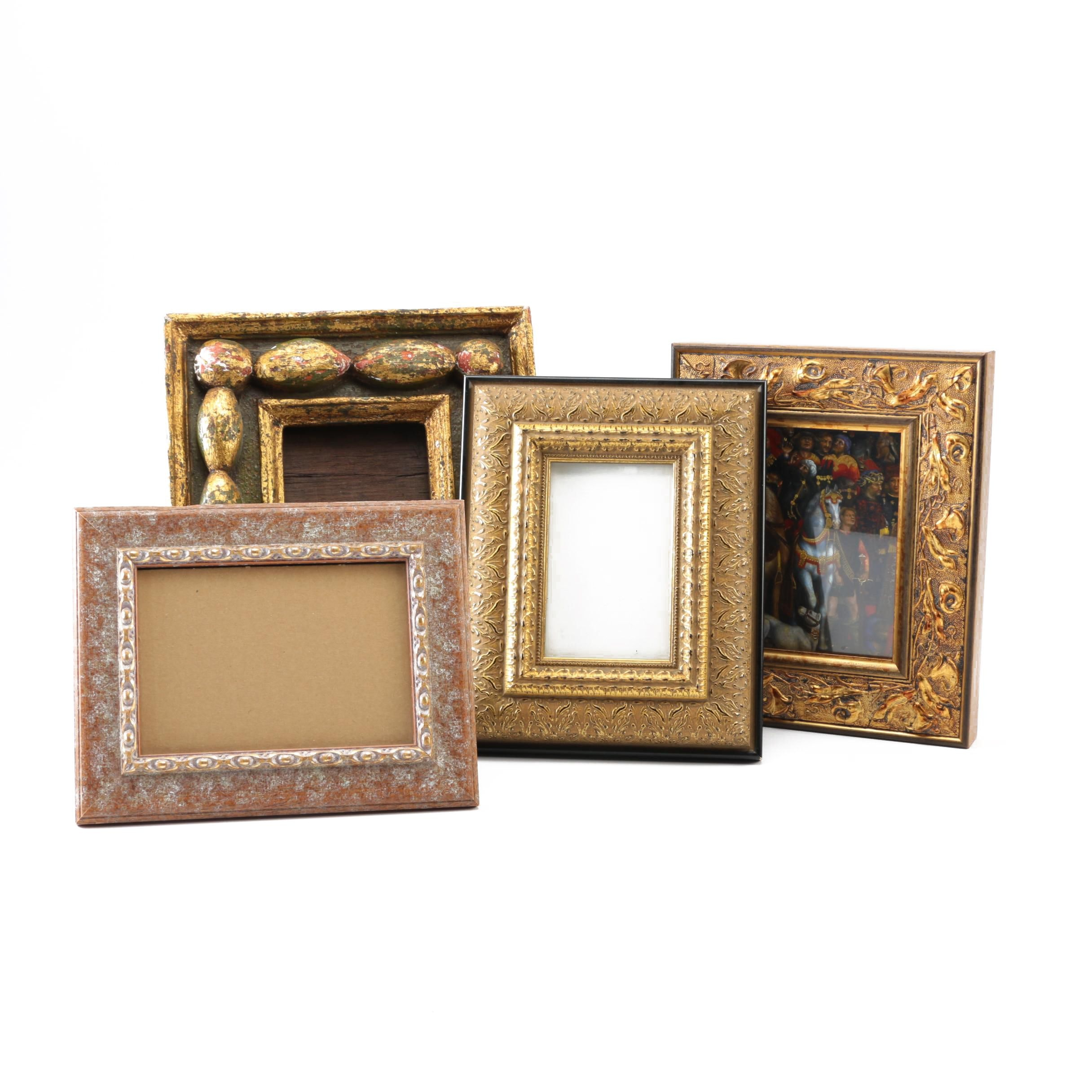 Distressed Gold-Tone Picture Frames