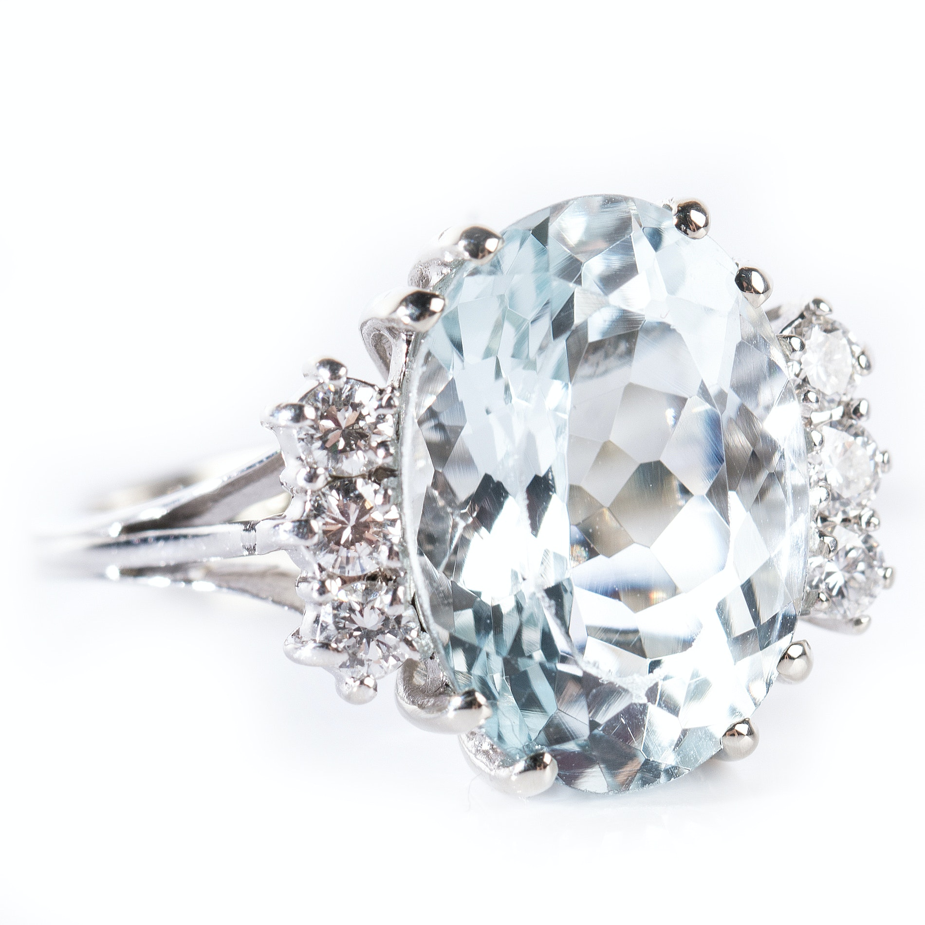 18K White Gold 5.73 CTS Aquamarine and Diamond Cathedral Style Ring