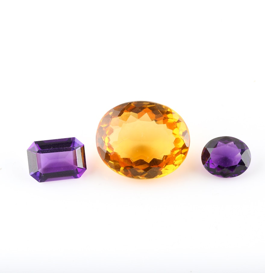 10 30 Ctw Amethyst Loose Gemstones And 28 73 Cts Citrine