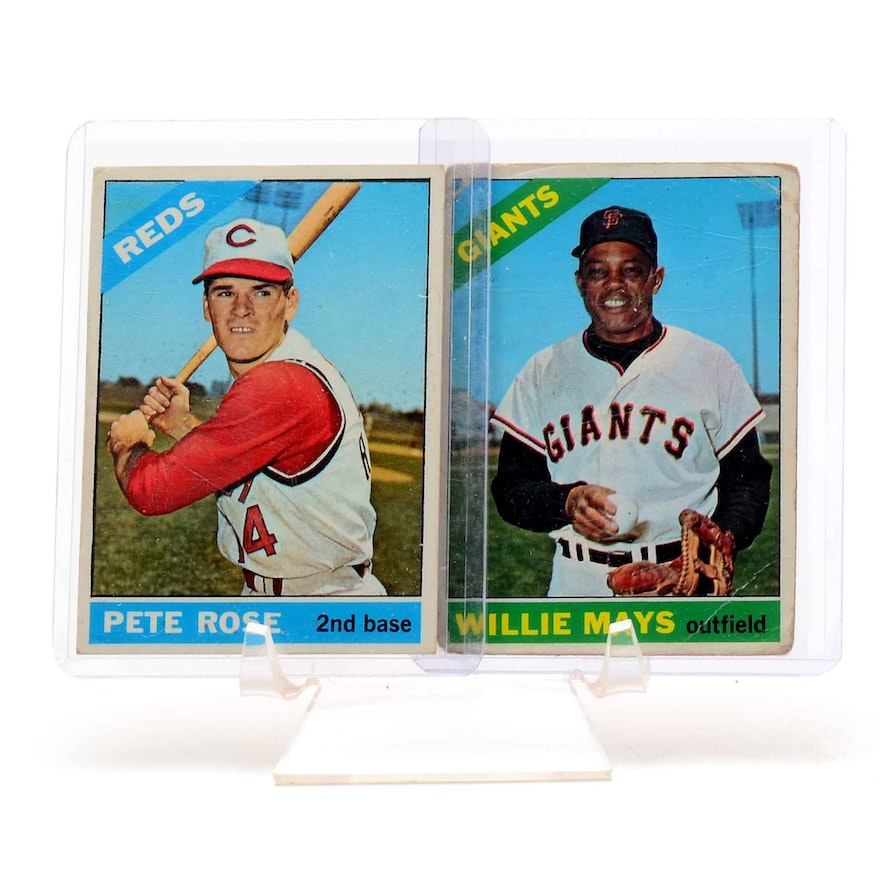 1966 Pete Rose And Willie Mays Topps Baseball Cards