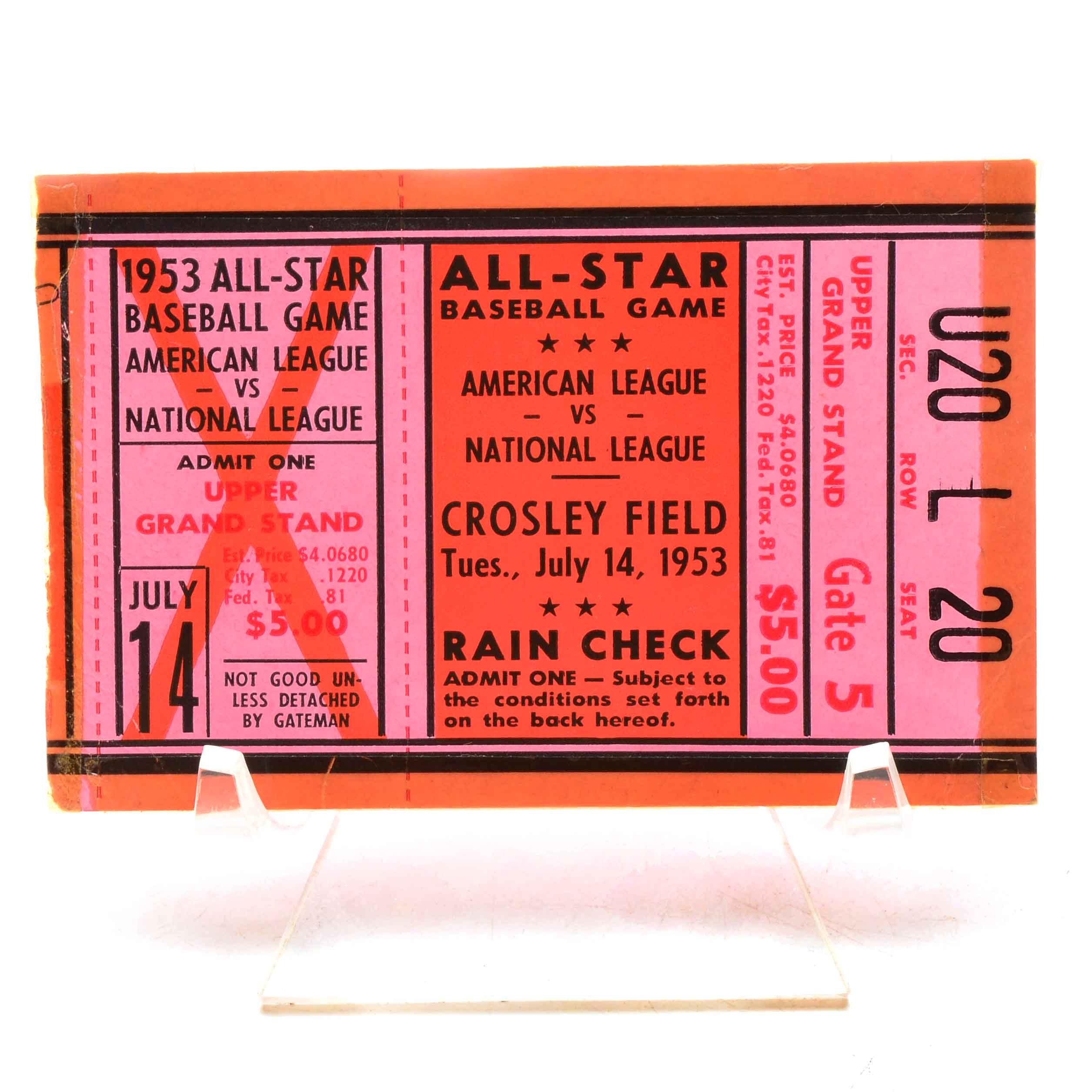 1953 All-Star Game Baseball Ticket Crosley Field