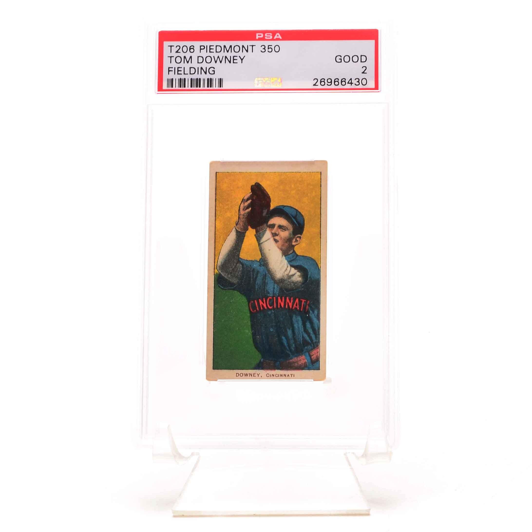 1909-11 Tom Downey  Reds PSA Graded Tobacco Baseball Card