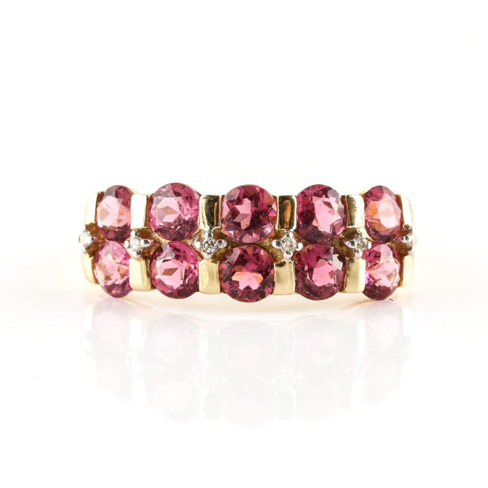 14K Yellow Gold 2.40 CTW Pink Tourmaline and Diamond Ring