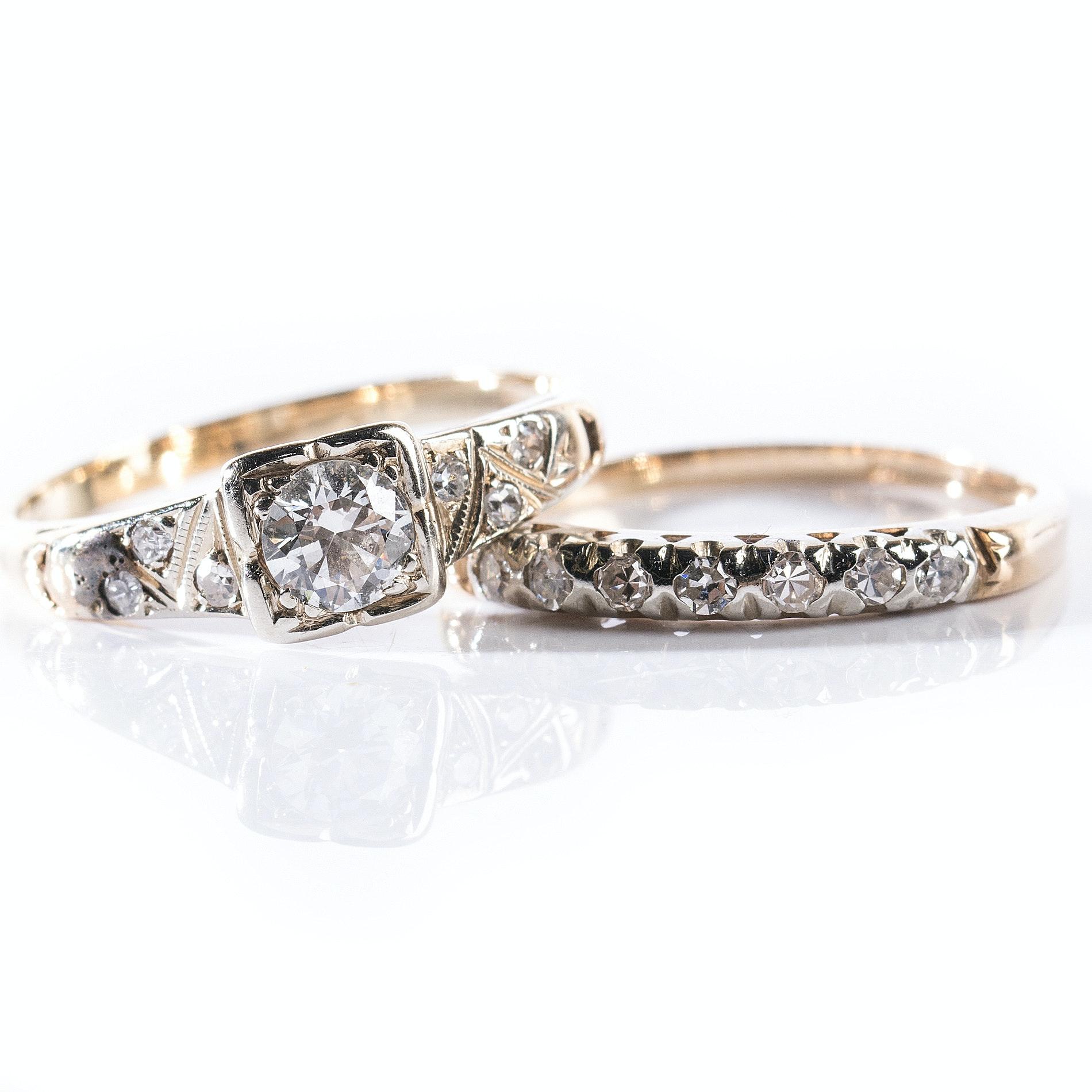 14K Yellow Gold Diamond Ring and Band