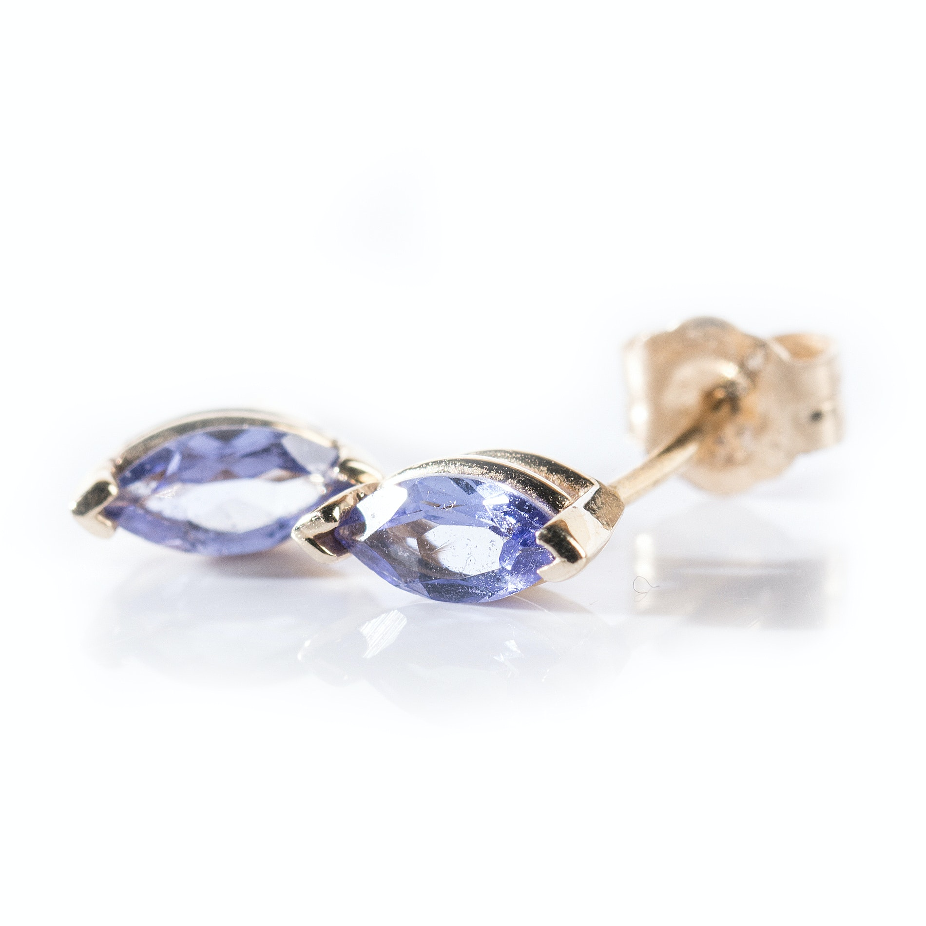 14K Yellow Gold Marquise Tanzanite Earrings