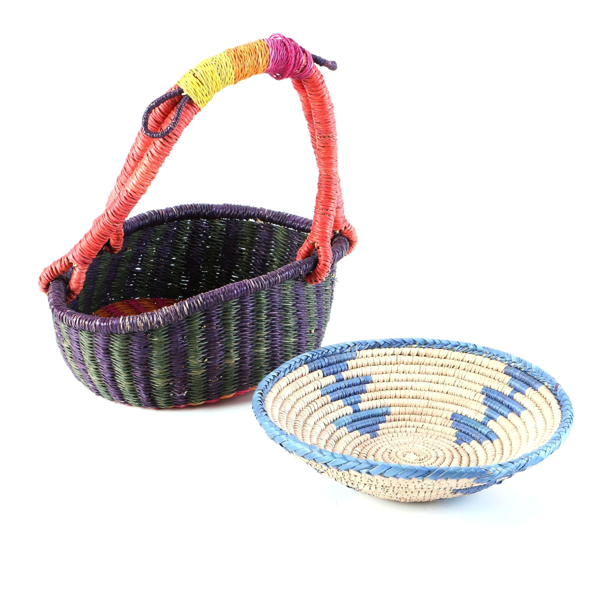Dyed Woven Grass Baskets