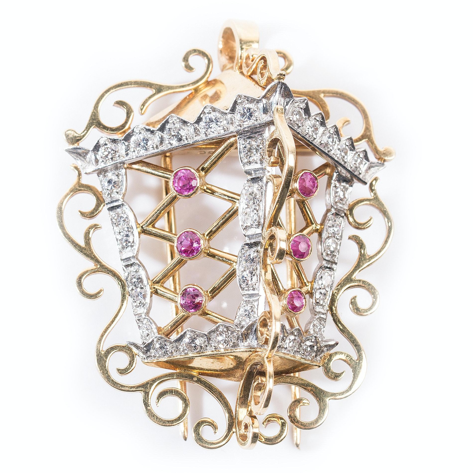 18K Yellow Gold and Platinum Diamond and Ruby Lantern Pendant Brooch