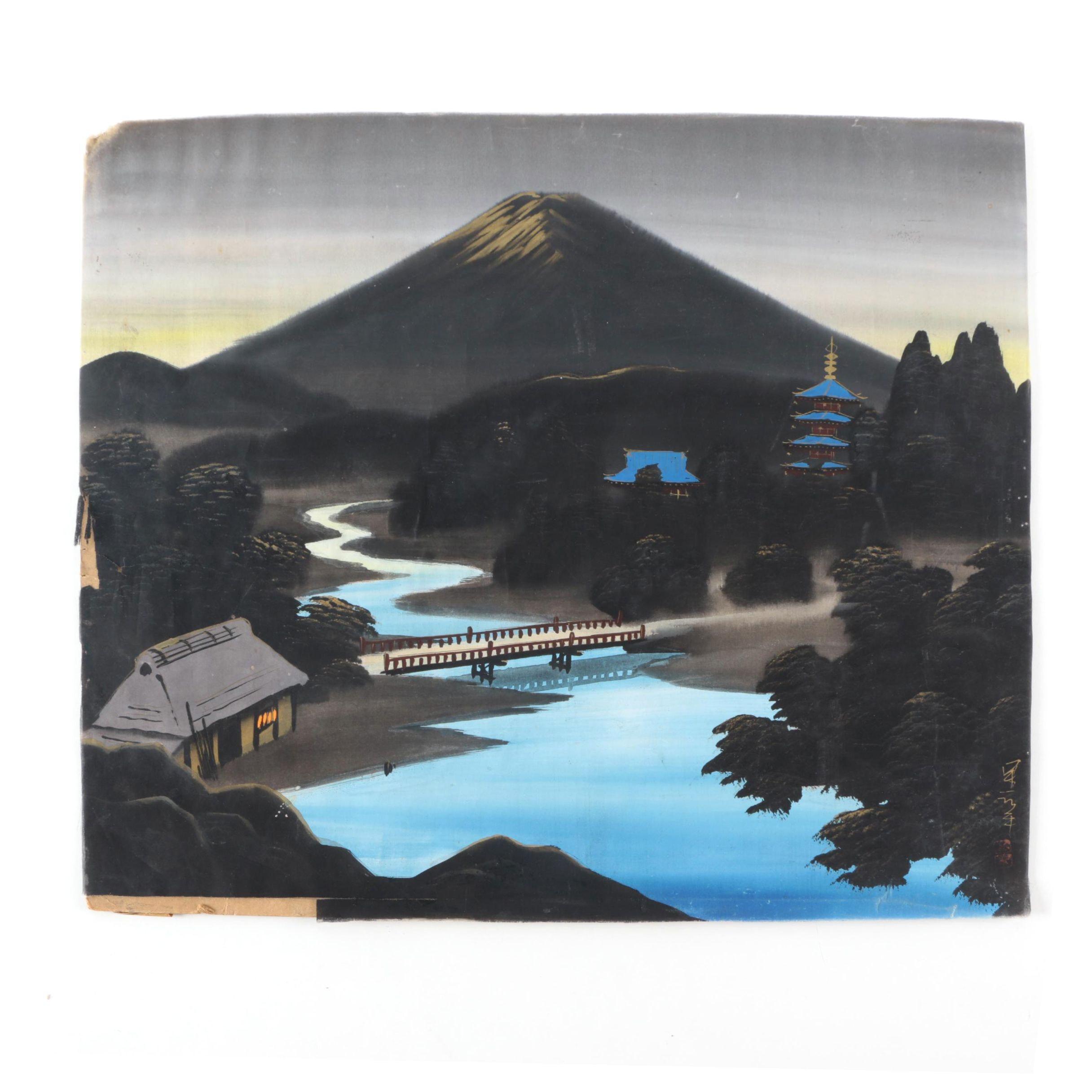 East Asian Gouache on Silk of Landscape