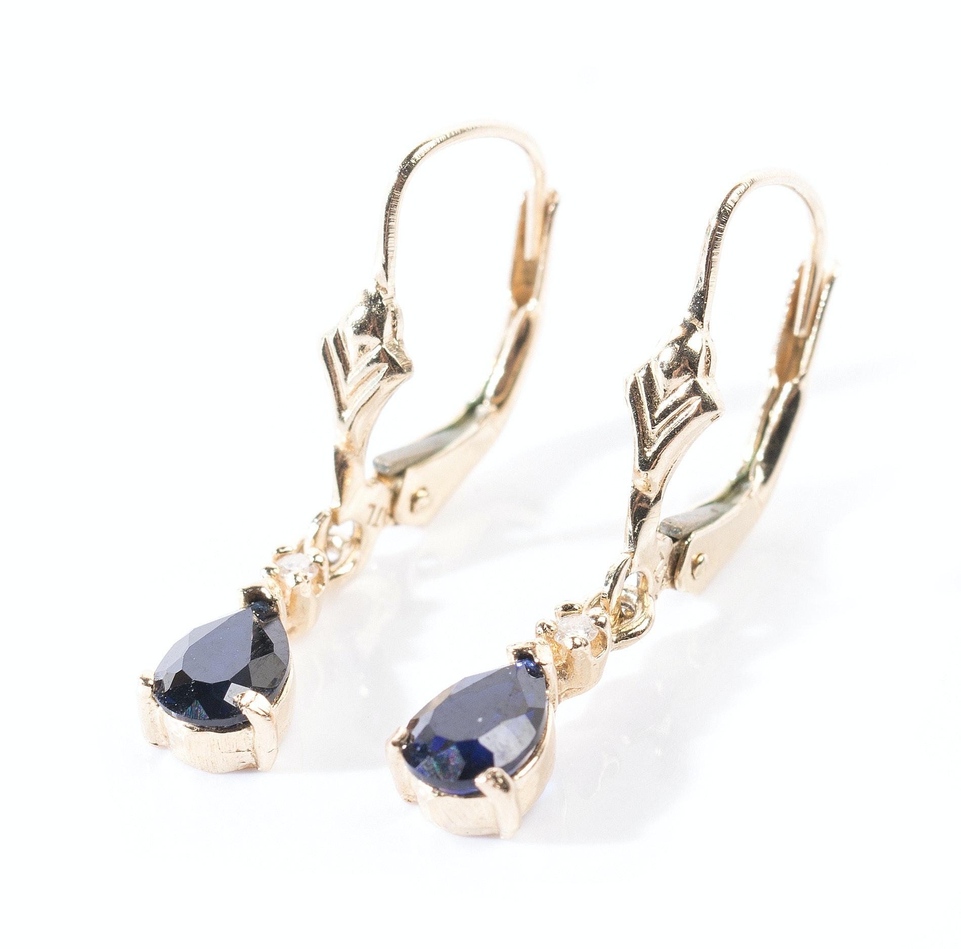 14K Yellow Gold Sapphire and Diamond Dangle Earrings