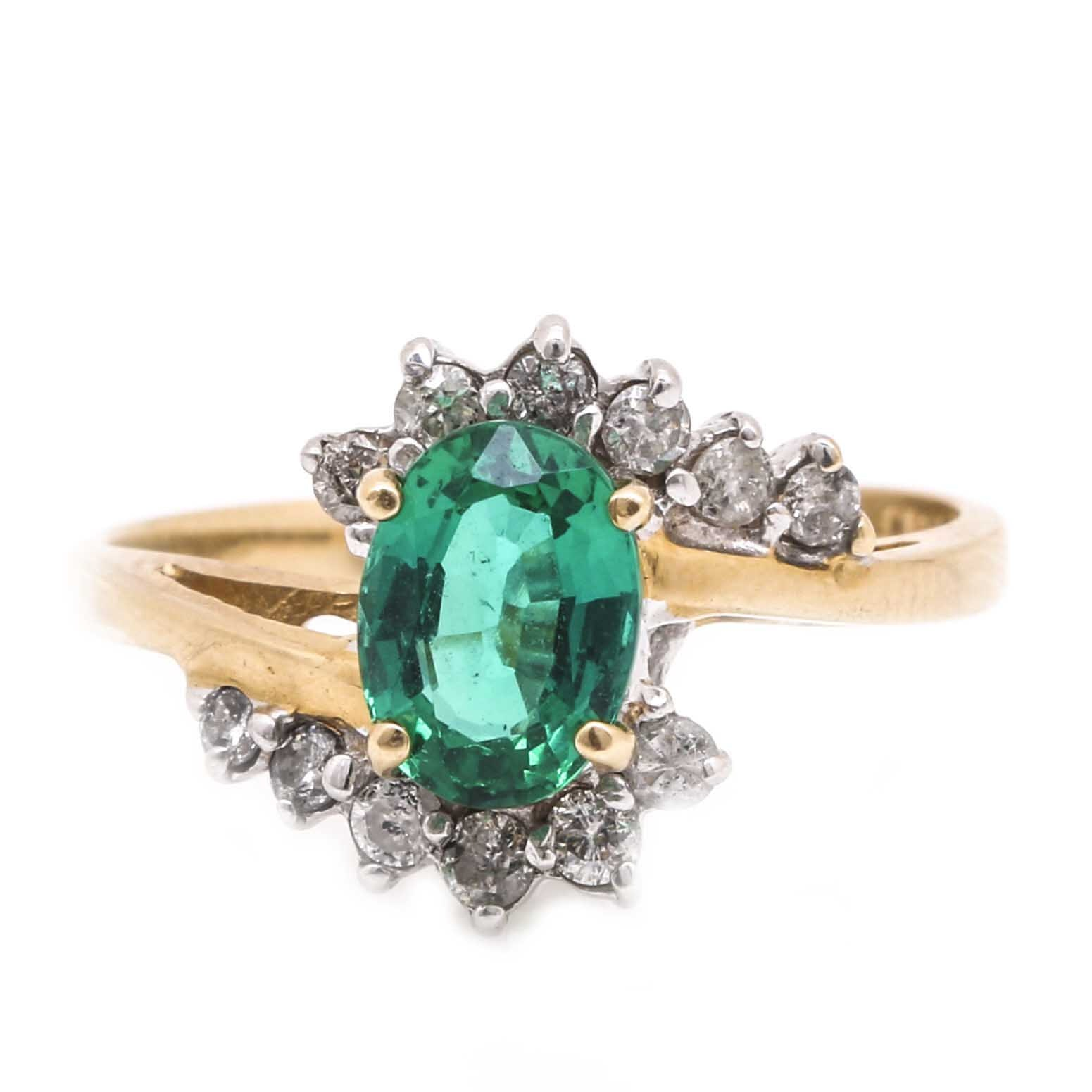 14K Two Tone Gold Emerald and Diamond Bypass Ring