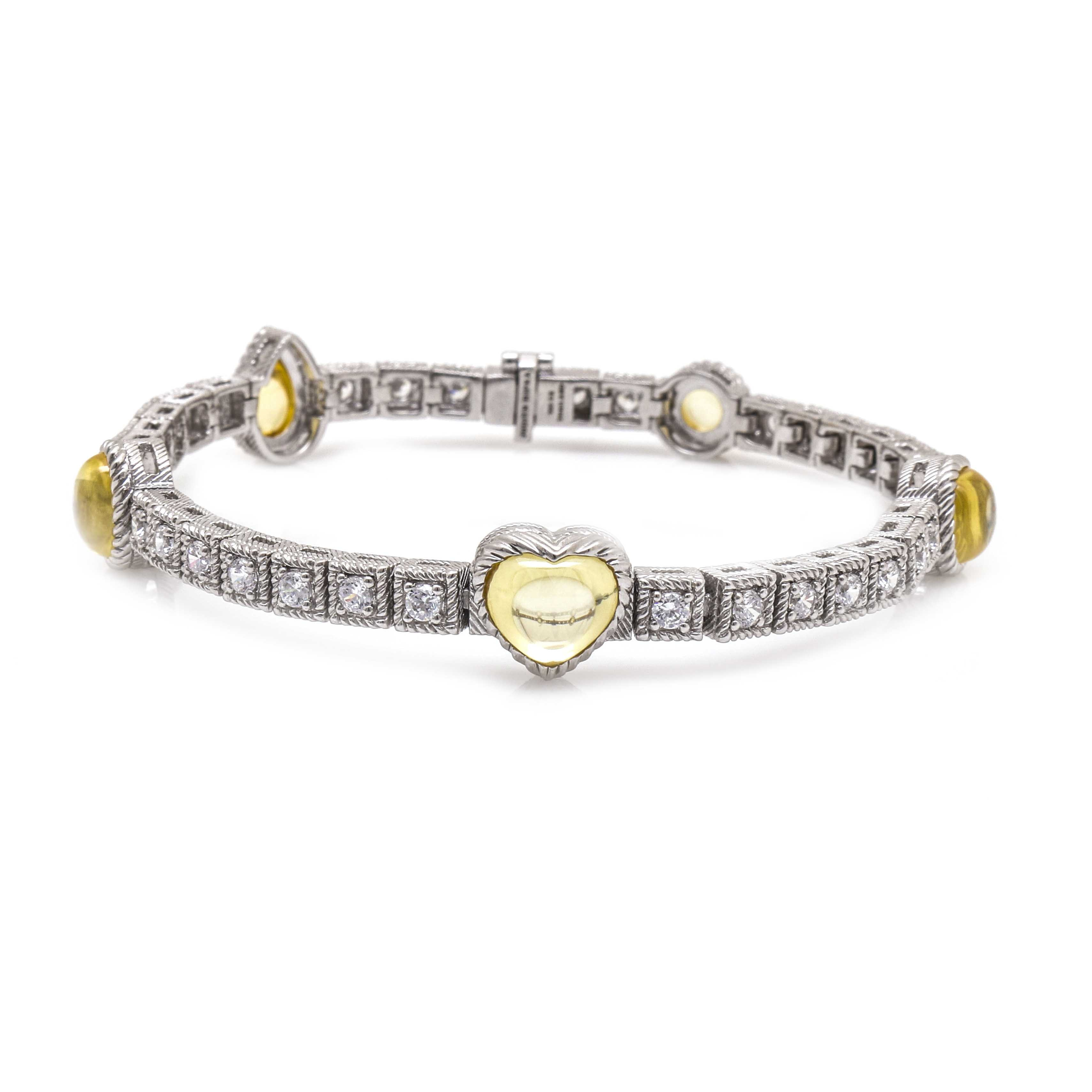 Judith Ripka Sterling Silver Yellow and White Cubic Zirconia Bracelet