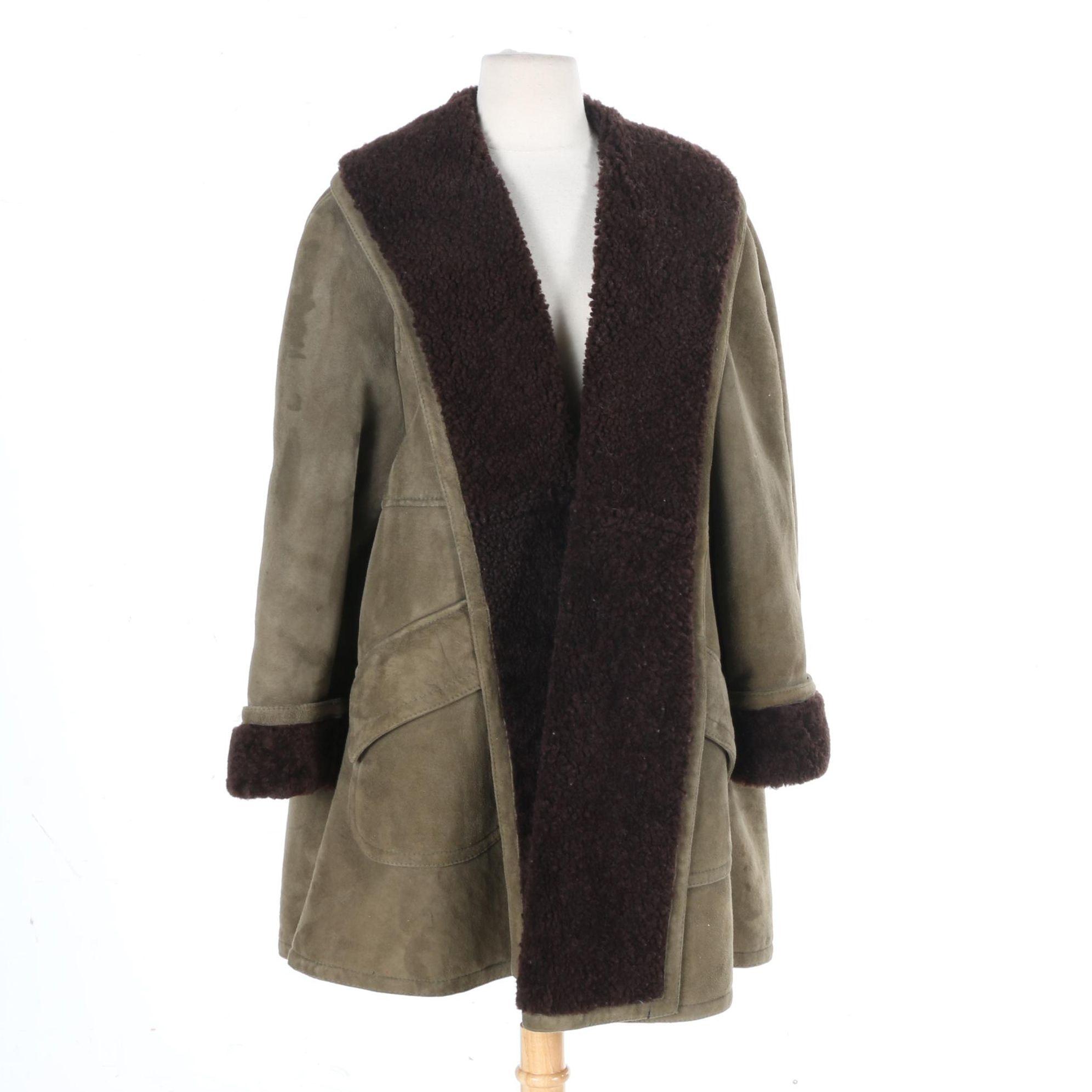 Ralph Lauren Women's Suede and Shearling Coat