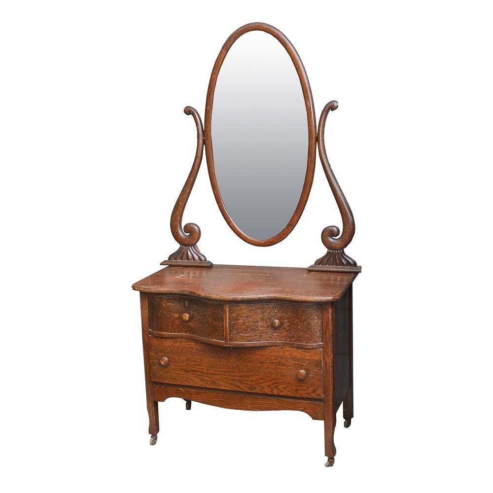 Victorian Oak Vanity Dresser with Mirror