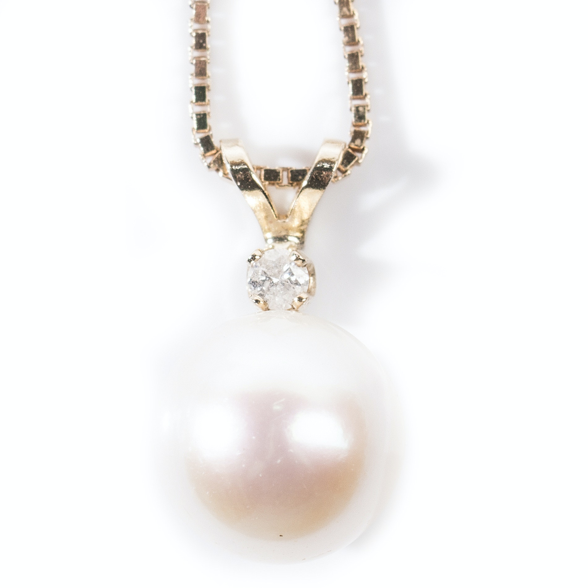 14K Yellow Gold Cultured Pearl and Diamond Pendant Necklace
