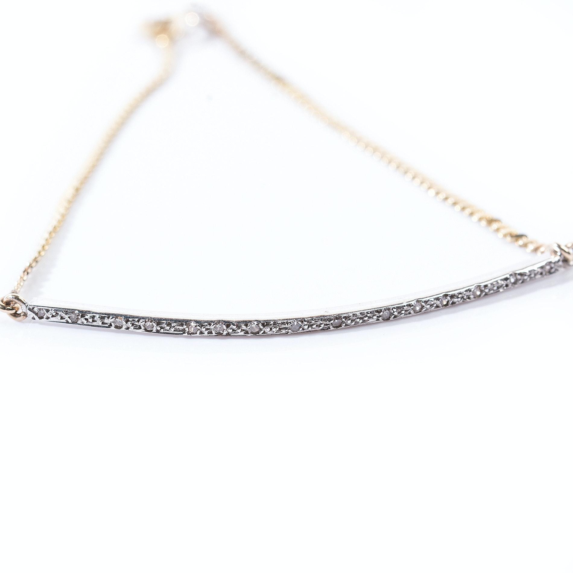 Italian 14K Yellow and White Gold Diamond Bar Bracelet
